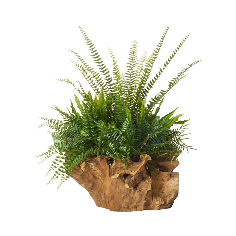 Artificial Fern Garden in Wooden Stump Planter