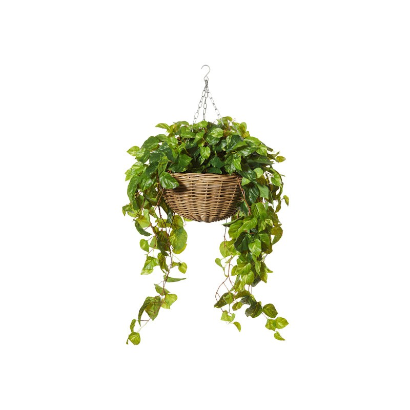 Artificial Pothos Vine in Rattan Hanging Bowl Planter, Large