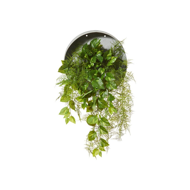 Artificial Mixed Airfern & Pothos Vine in Metal Wall Planter