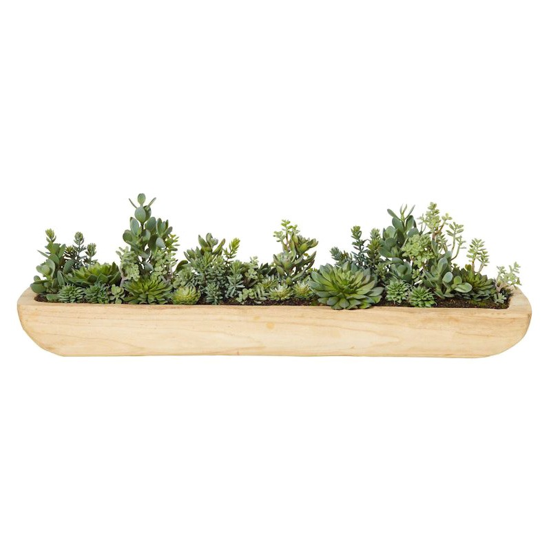 Artificial Succulent Garden Boat