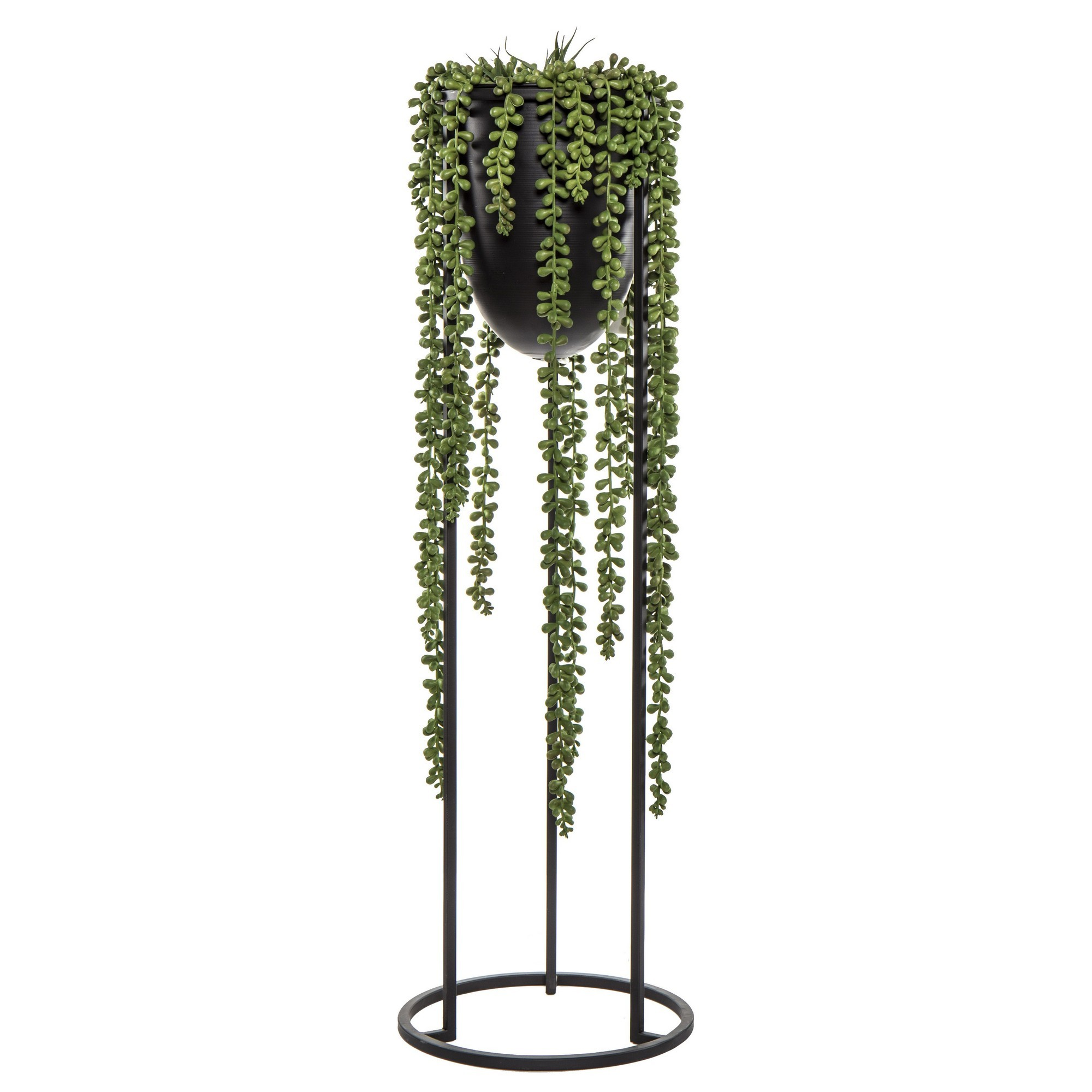 Artificial Hanging String Of Pearls in Marcus Pot Stand, 74cm