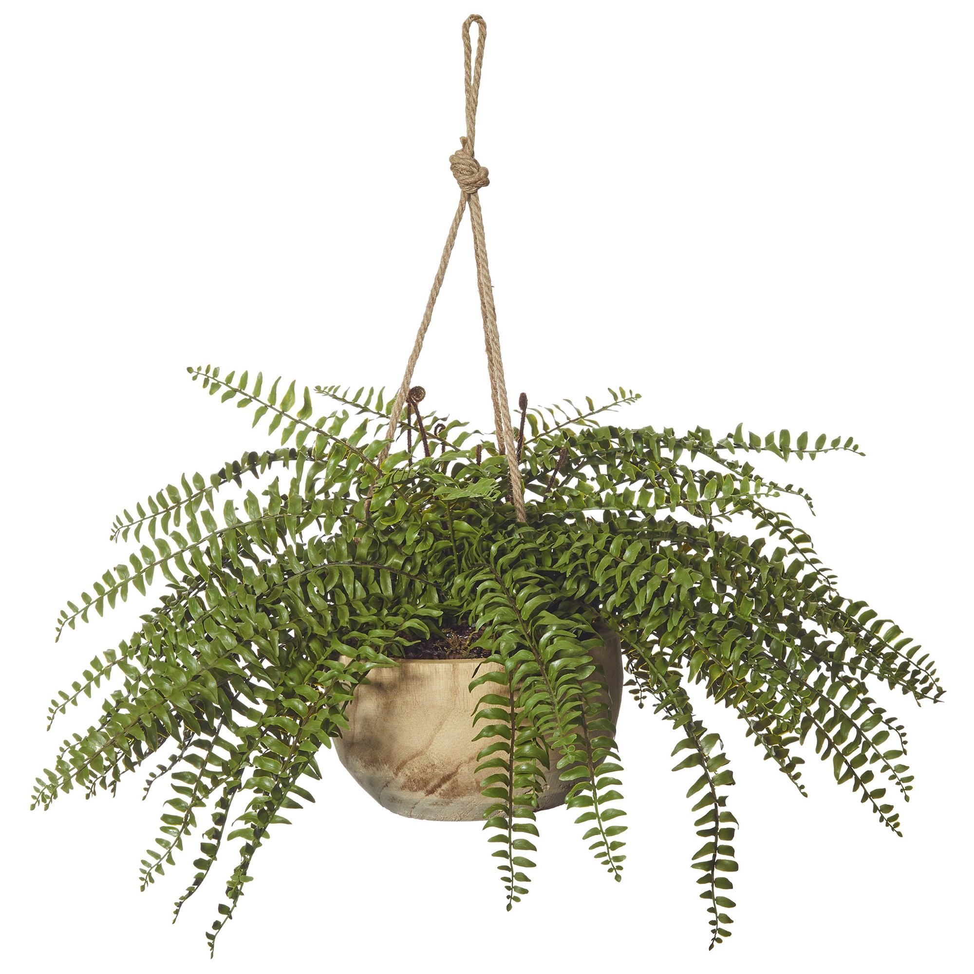 Artificial Boston Fern in Dansk Hanging Bowl Planter