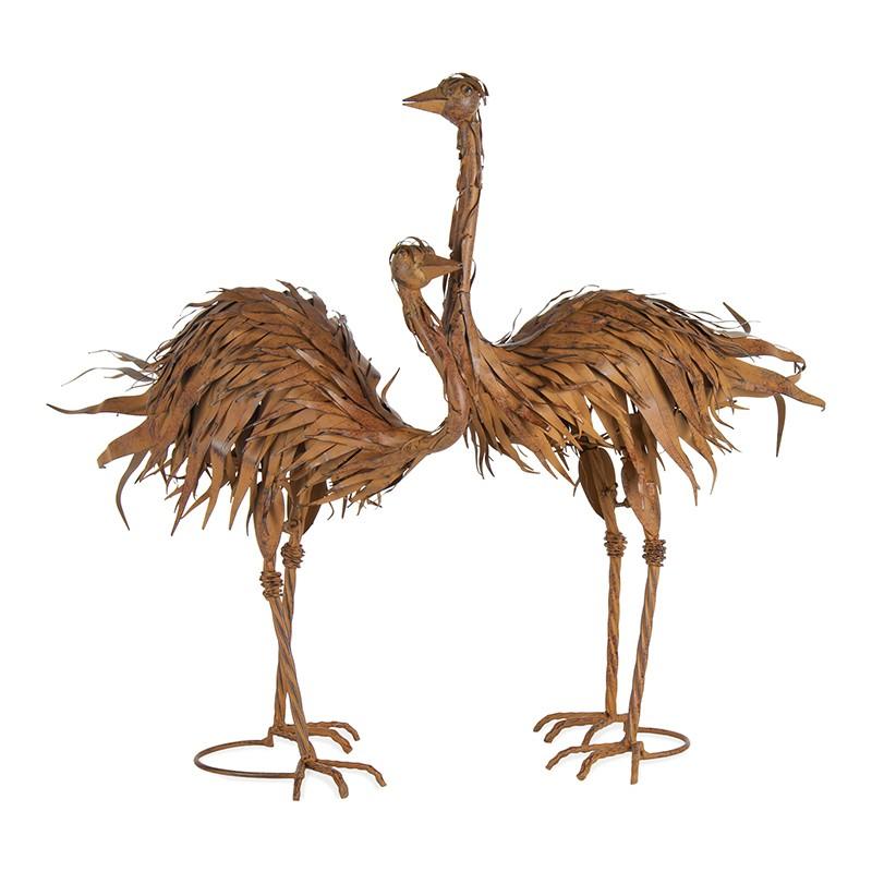 Medlow 2 Piece Rustic Metal Ostrich Statue Set