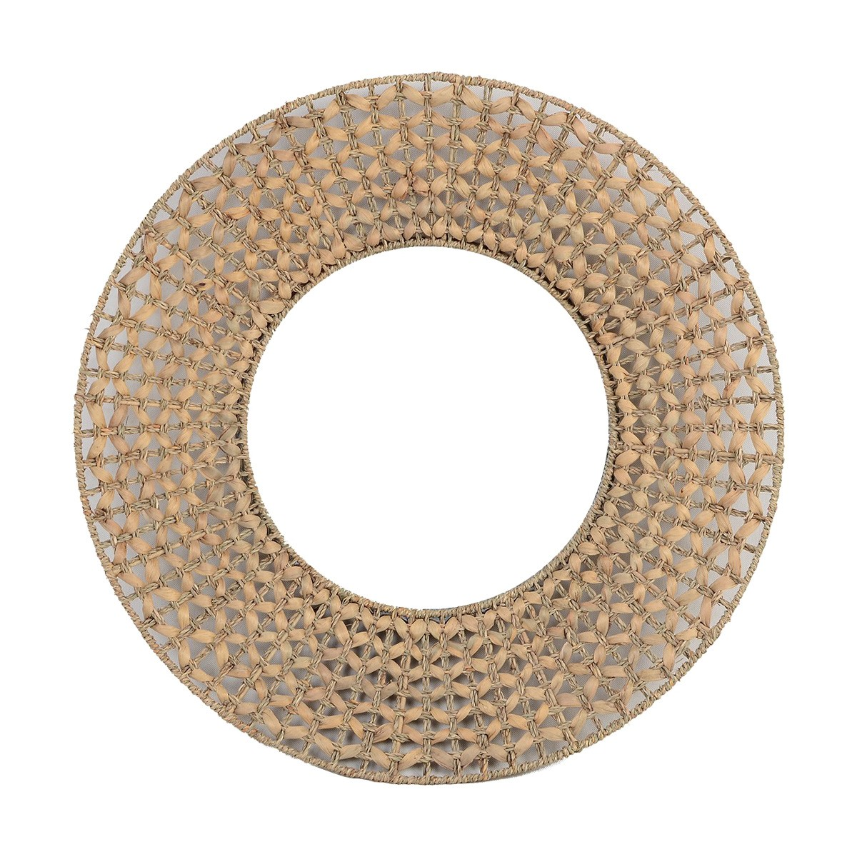 Palma Woven Water Hyacinth Frame Round Wall Mirror, 70cm, Natural