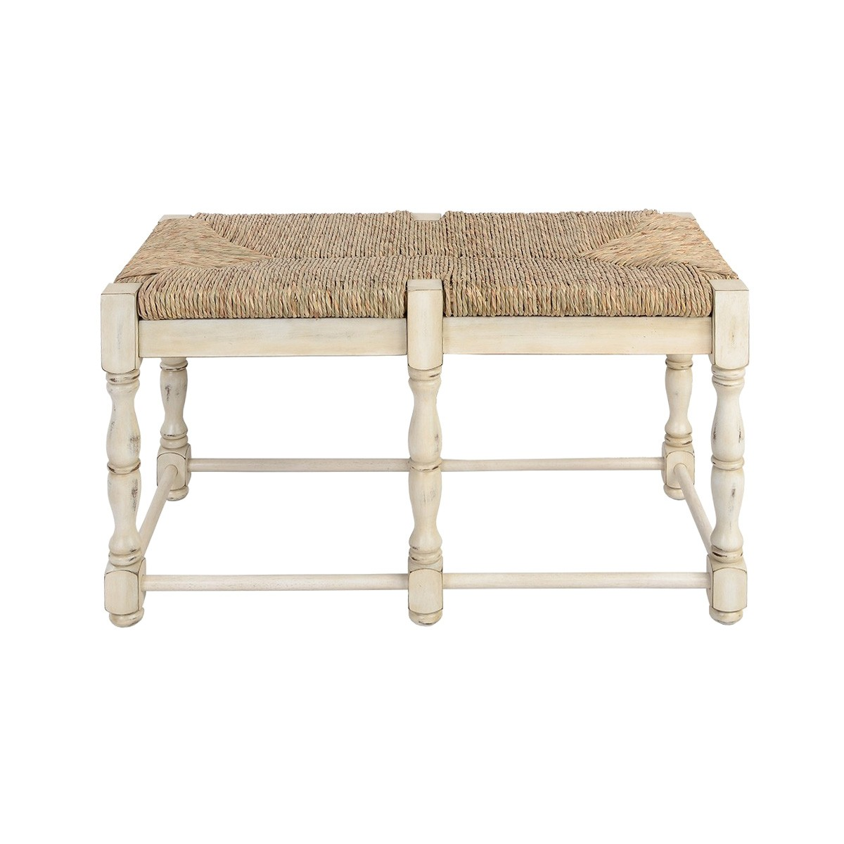 Plemont Acacia Timber Dressing Bench with Seagrass Seat, Distressed Cream