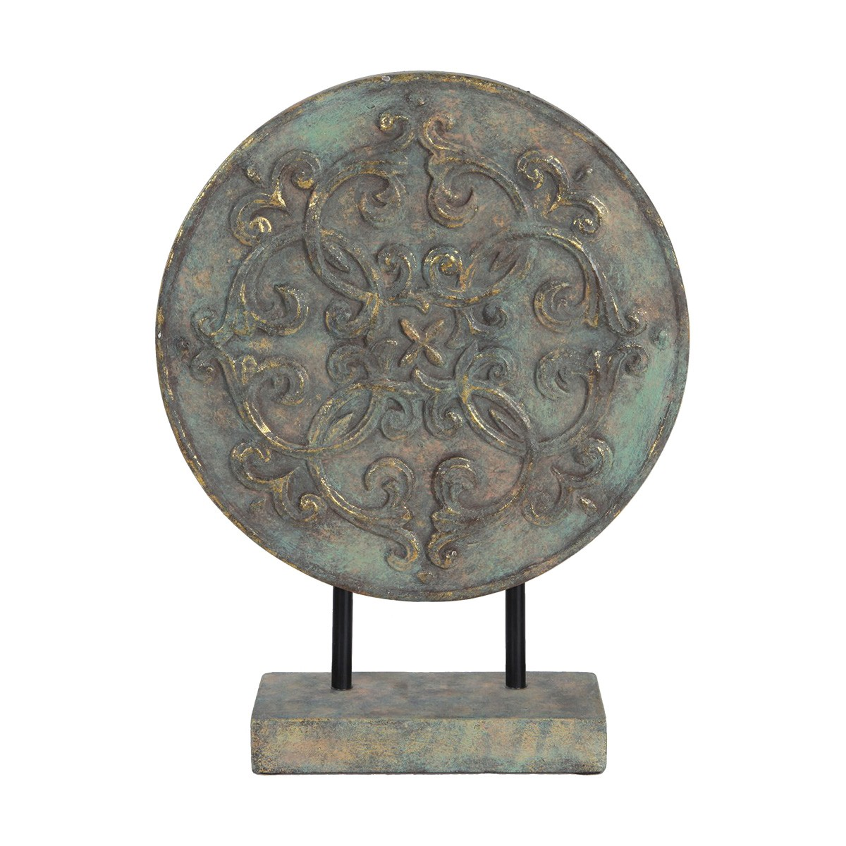 Lustre Embossed Ceramic Round Plaque Table Decor