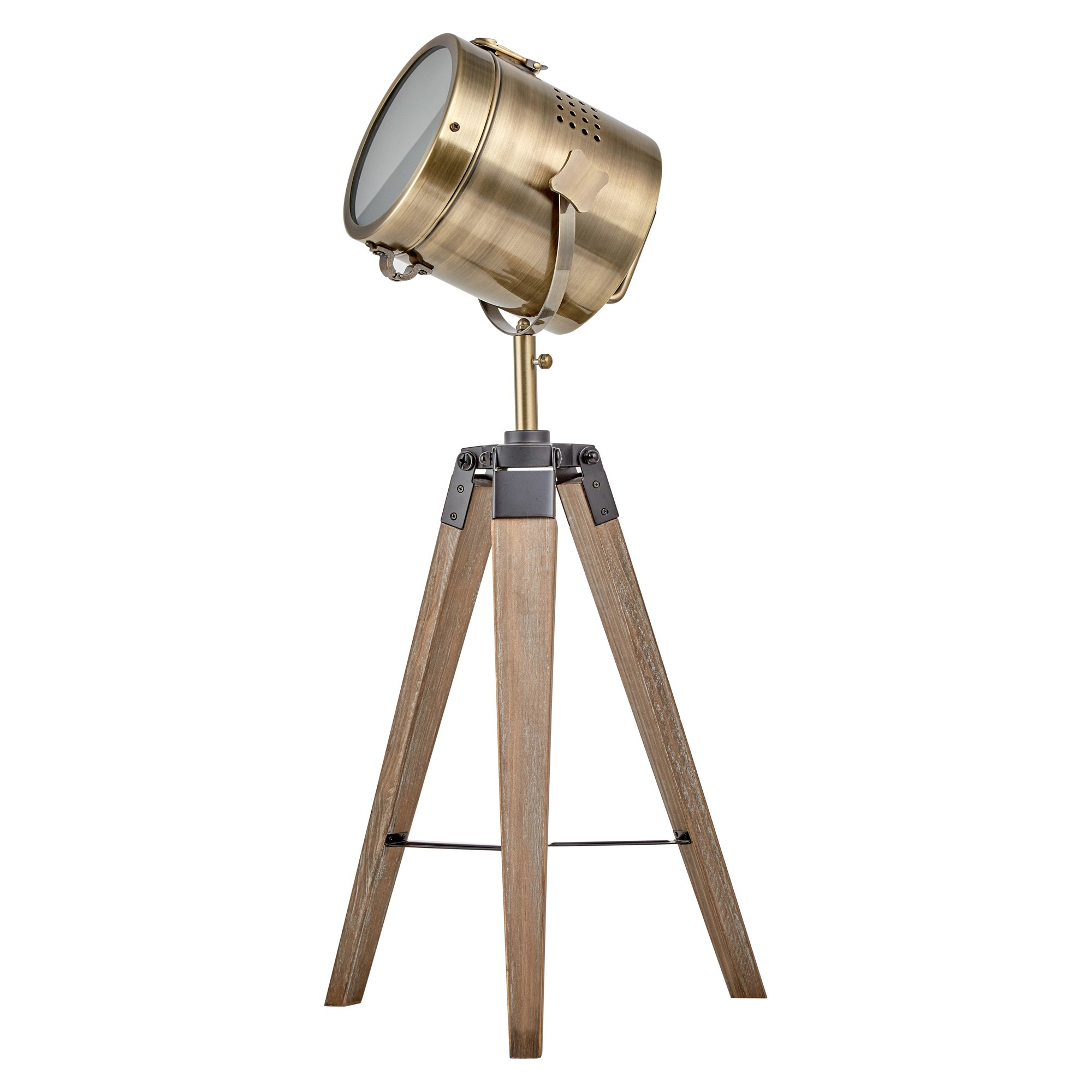 Beacon Timber Tripod Spotlight Table Lamp, Dark Oak / Antique Brass