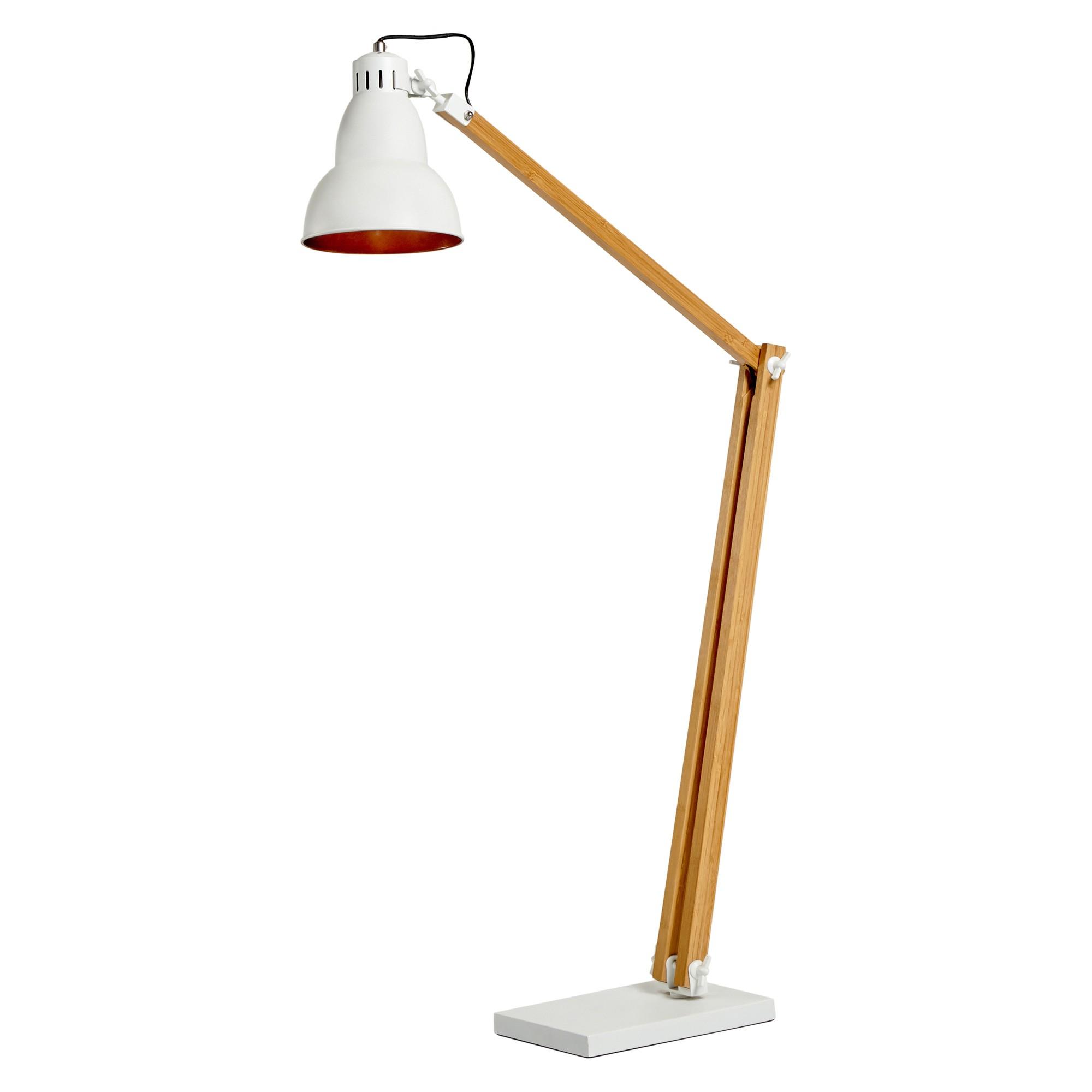 Bloomberg Metal & Timber Adjustable Floor Lamp, White / Natural