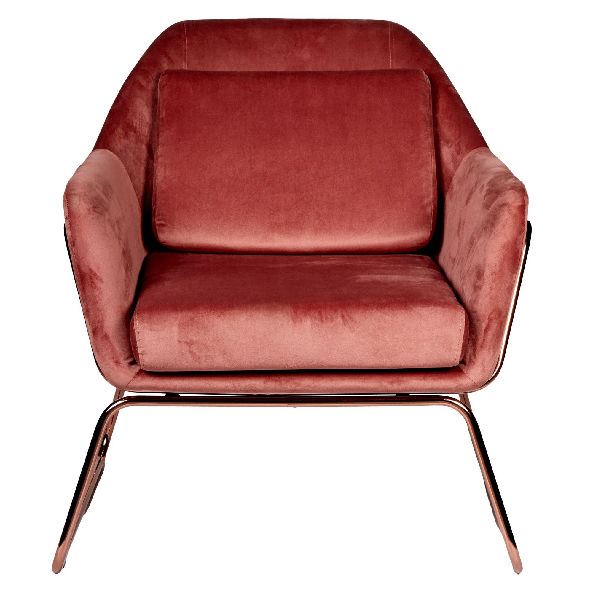 Marco Velvet Fabric Armchair, Blush / Rose Gold