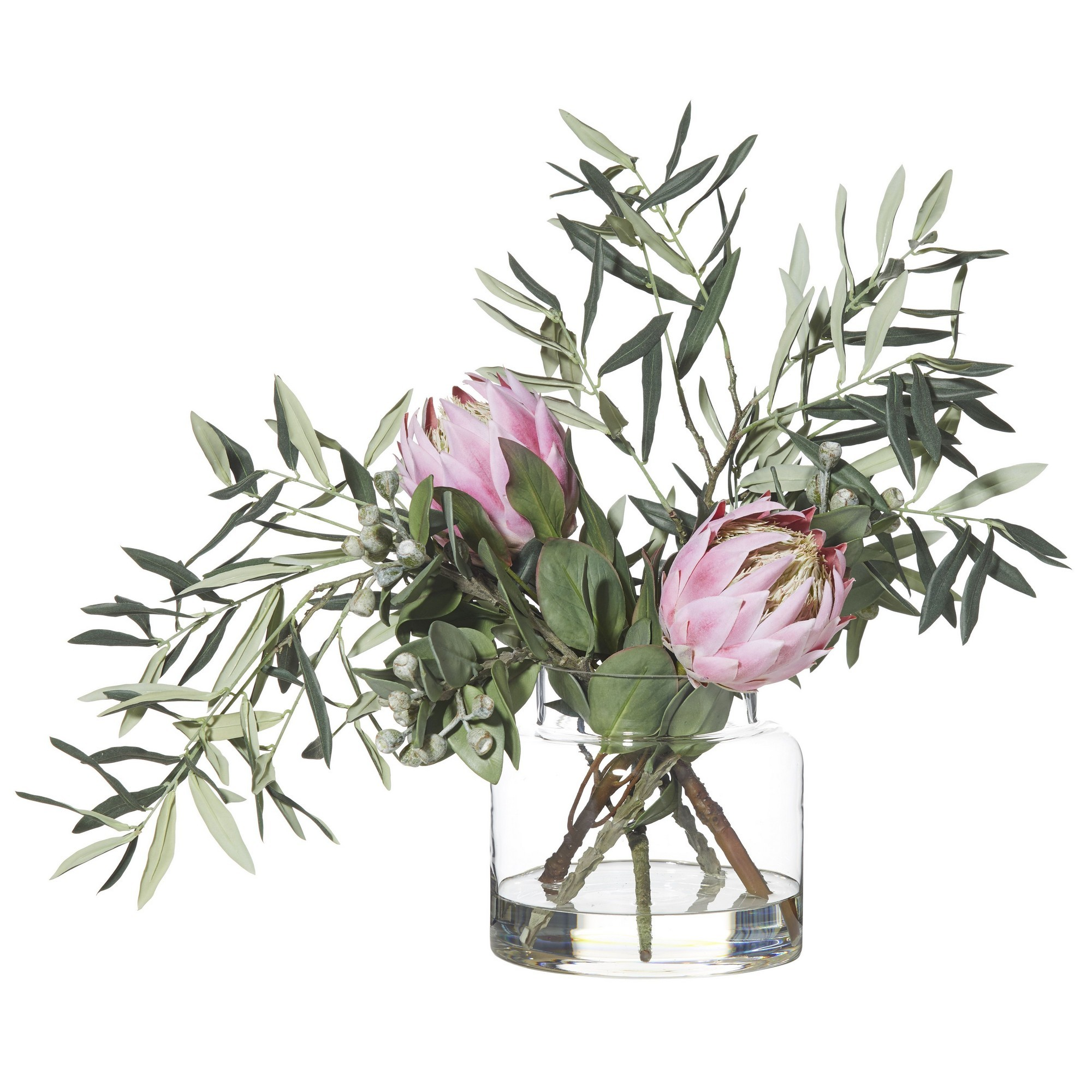 Artificial Protea & Olive Mix in Pail Vase, Pink Flower