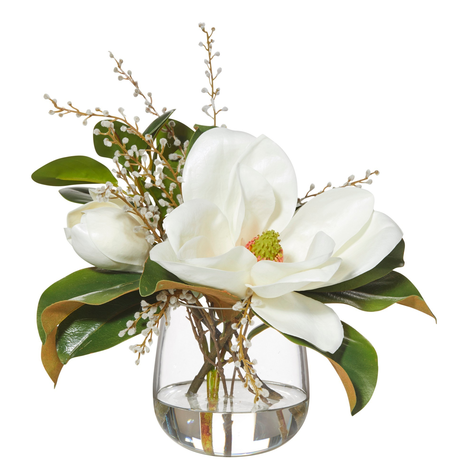 Artificial Magnolia & Willow Mix in Greta Vase