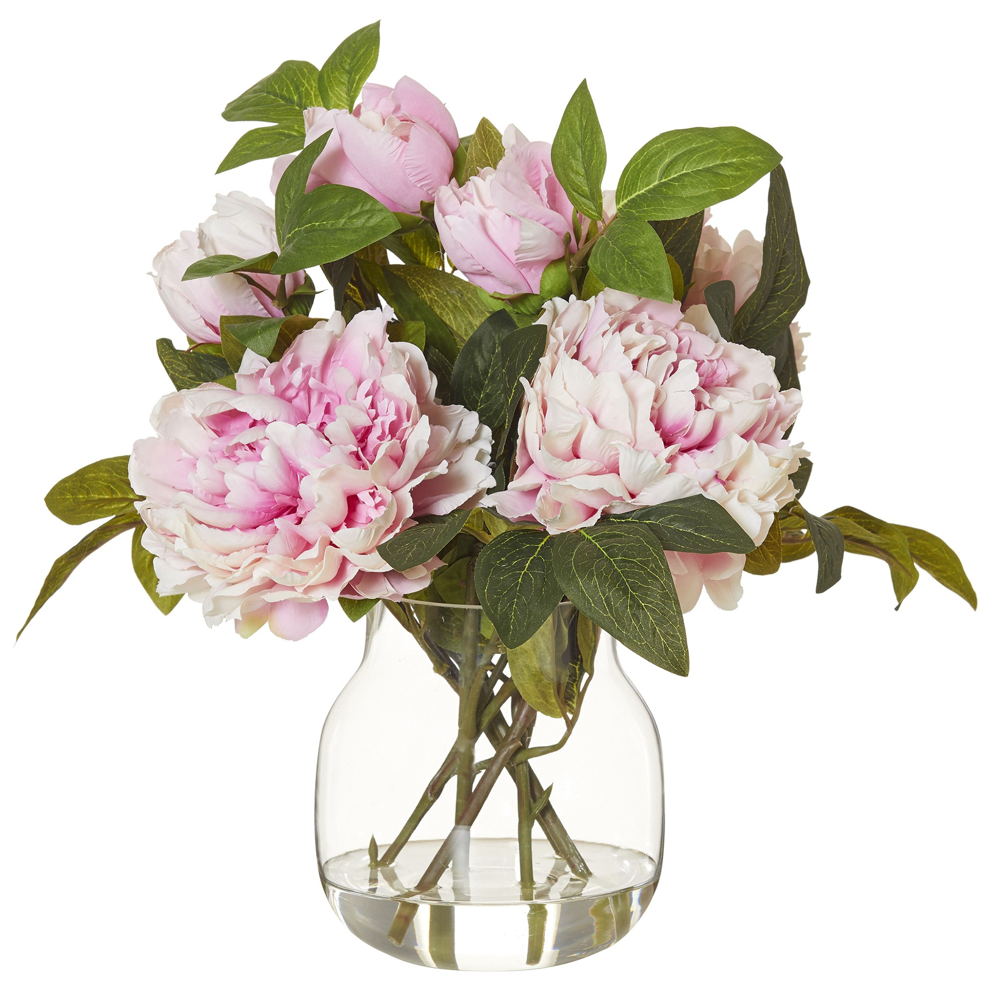 Artificial Peony in Adina Vase, Large, Pink Flower