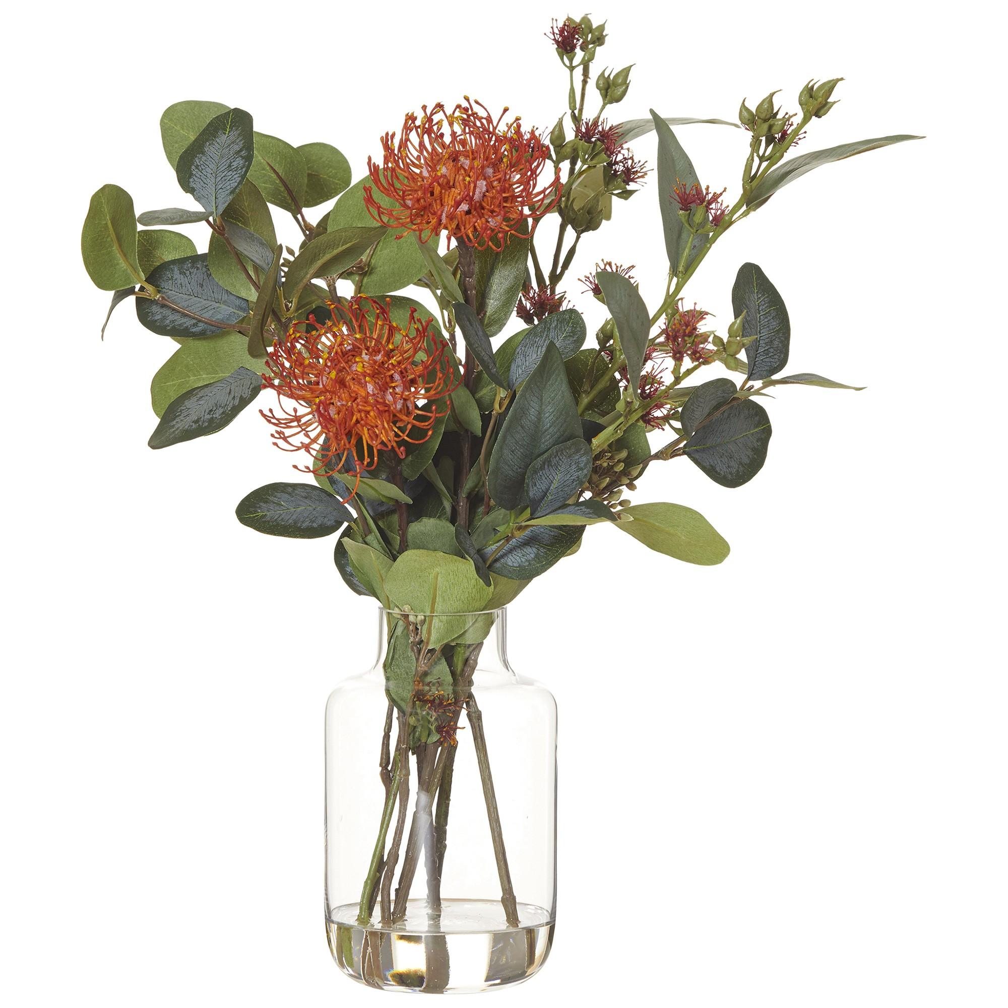 Artificial Pin Cushion Mix in Juliet Vase, Orange Flower