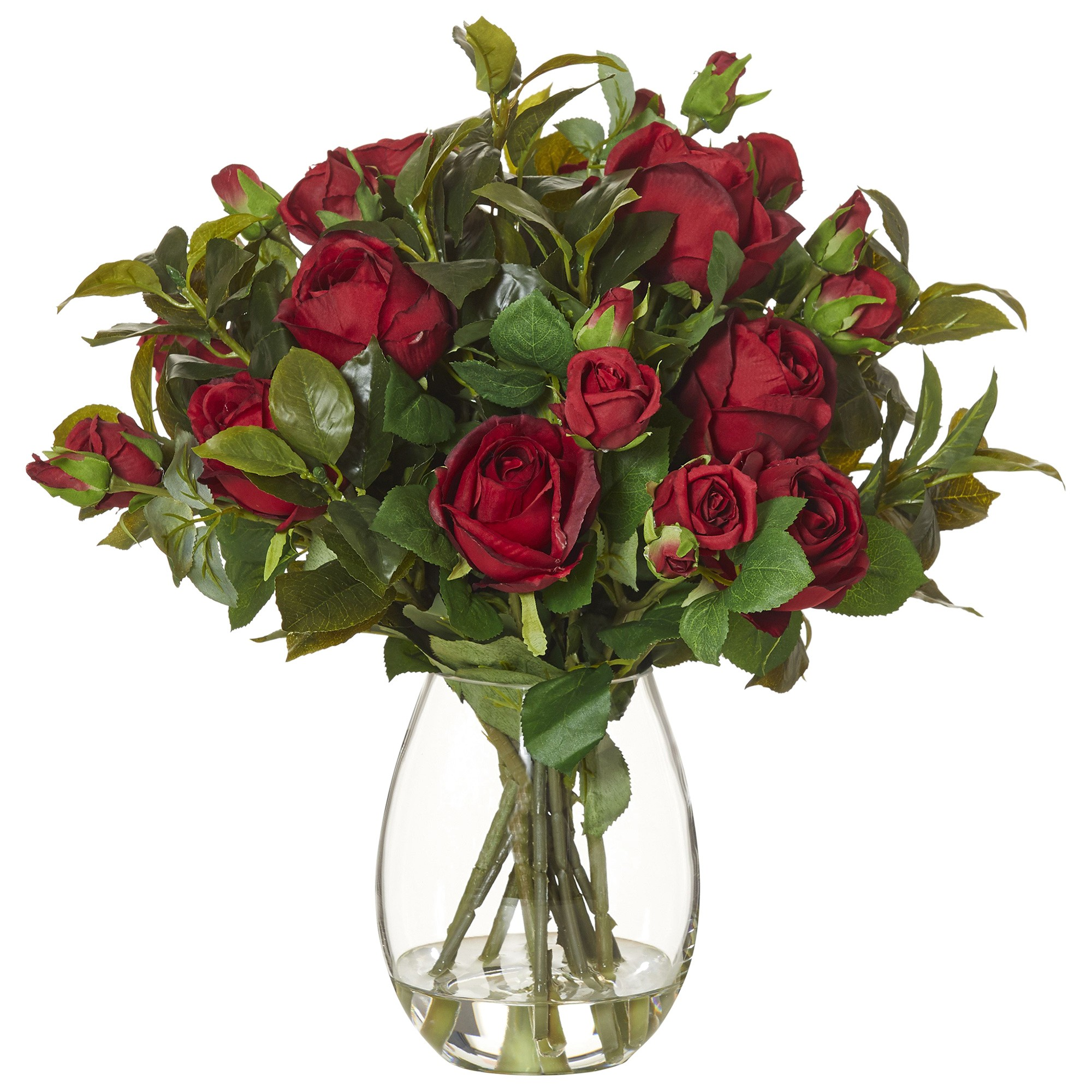 Artificial Garden Rose Mix in Claire Vase, Small, Red Flower