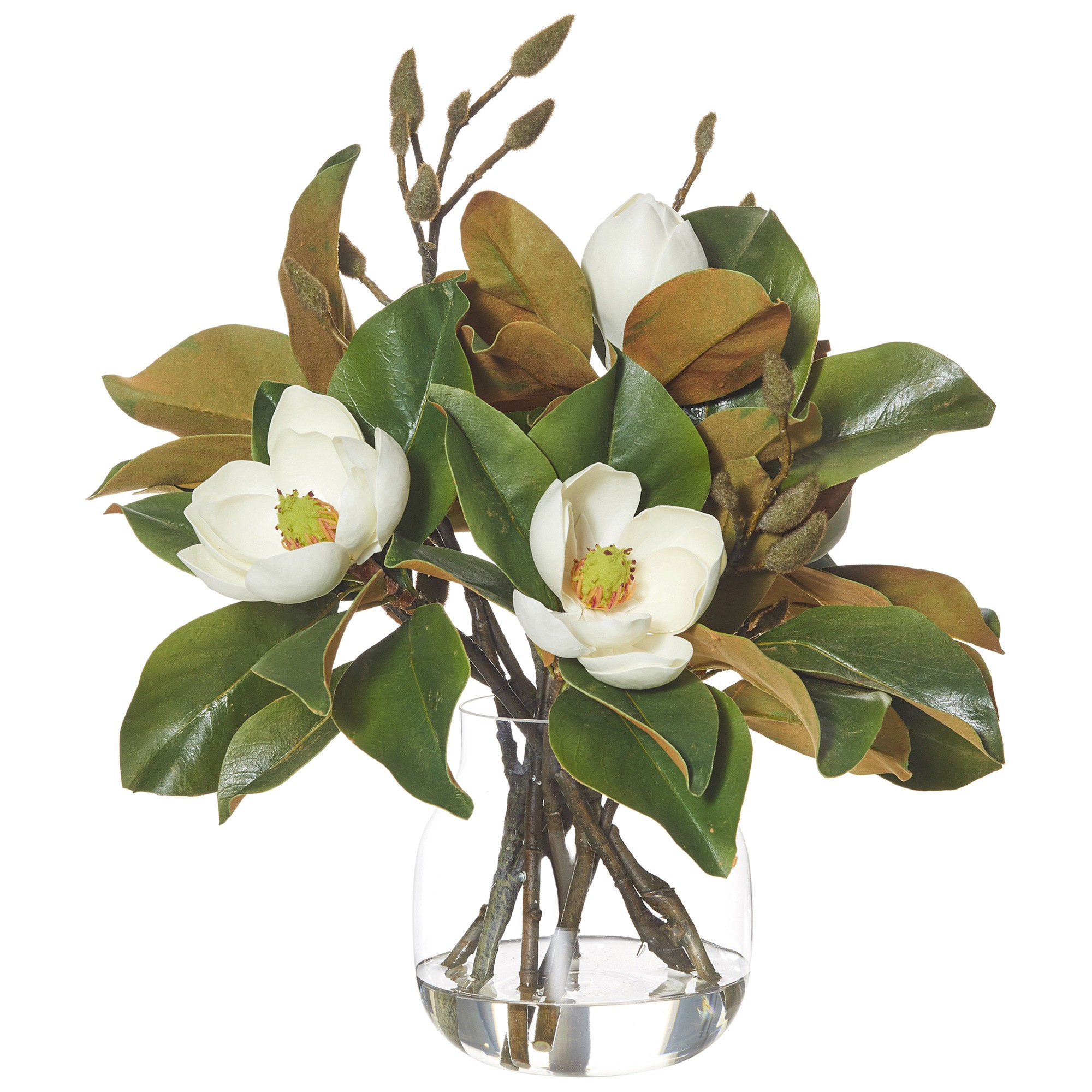 Artificial Luxe Magnolia Mix in Adina Vase, Large