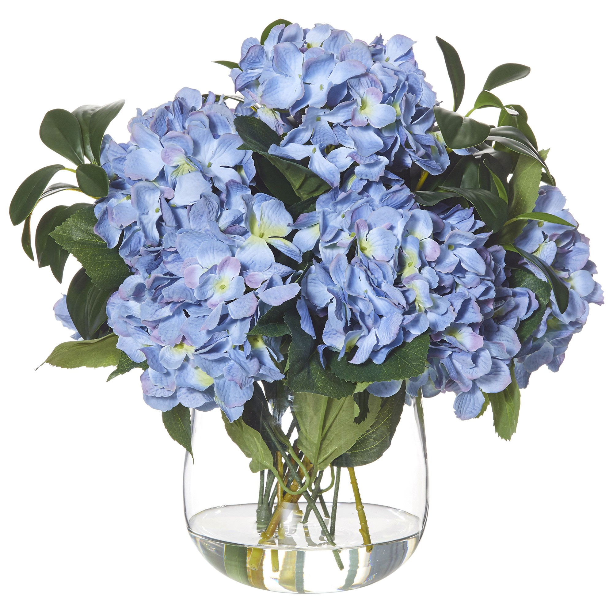 Artificial Hydrangea Mix in Greta Vase, Large, Blue Flower