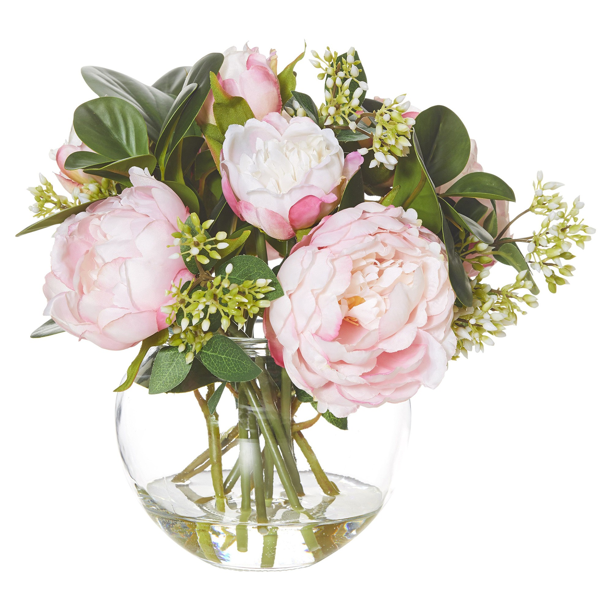 Artificial Peony Seeding Mix in Glass Fish Bowl, Pink Flower