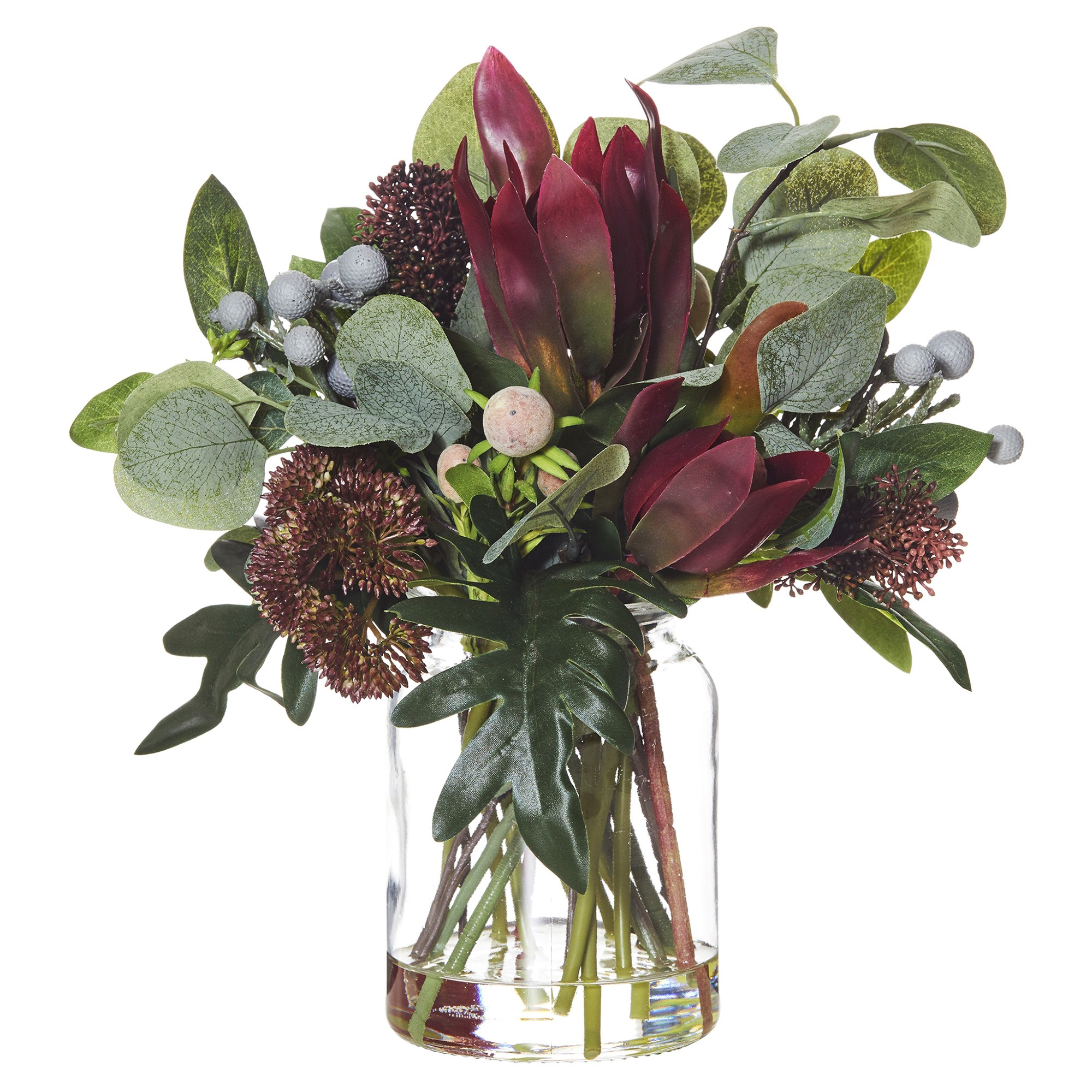 Artificial Australiana Mix in Glass Lip Vase, Red Flower