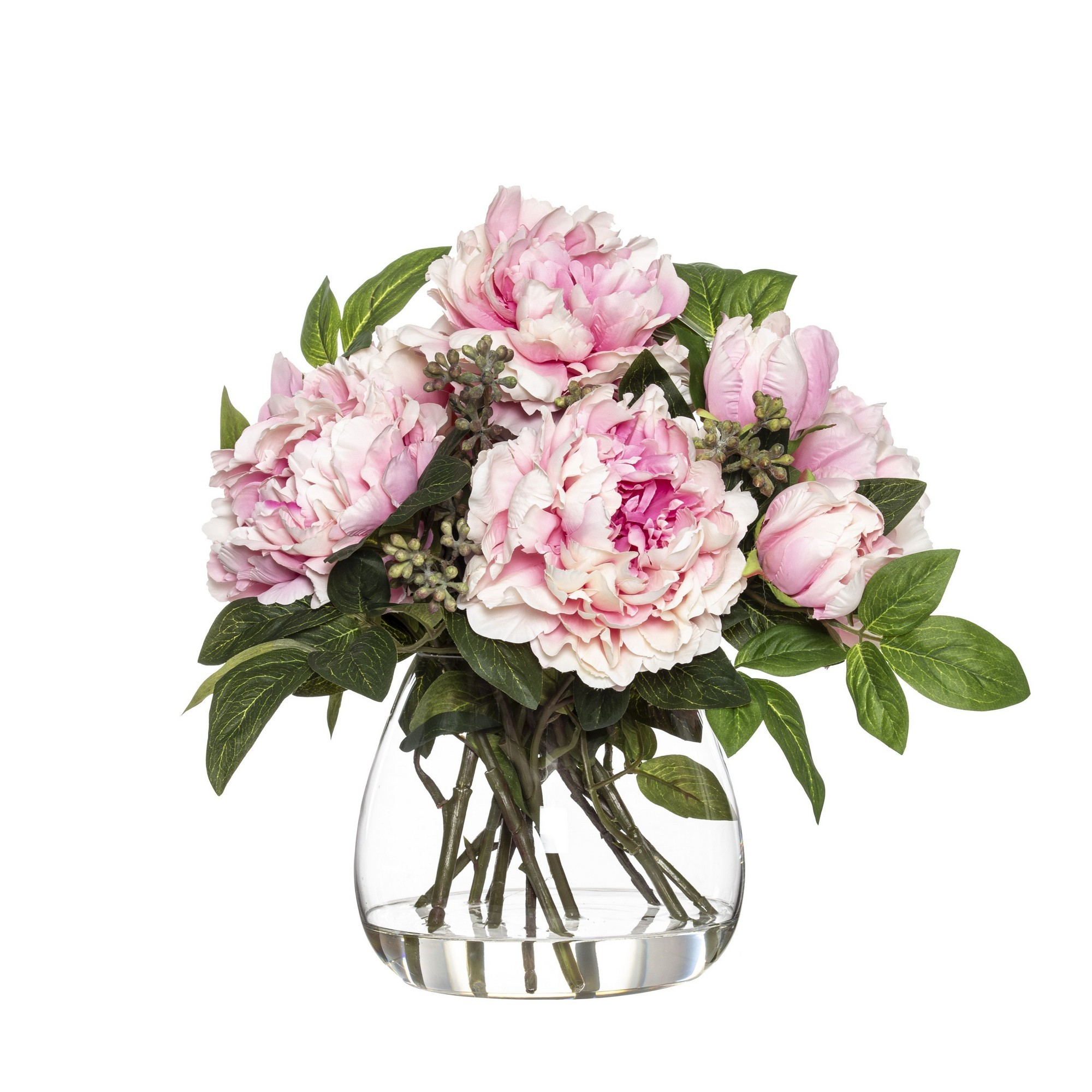 Artificial Joker Peony in Garden Vase, Pink Flower