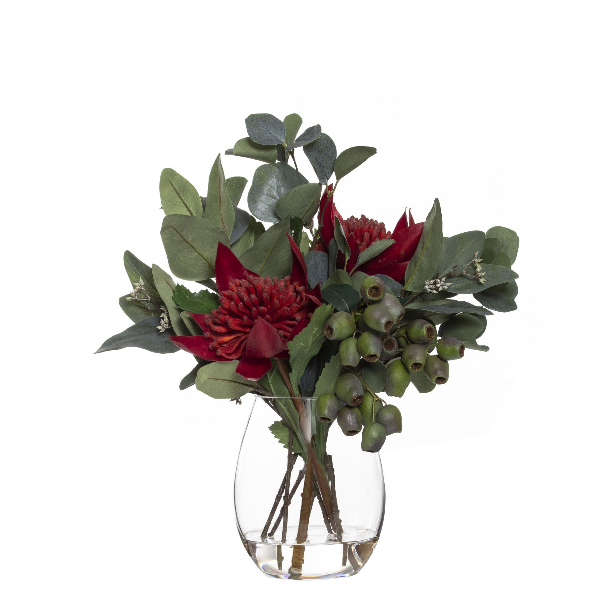 Artificial Waratah Mix in Claire Vase, Large