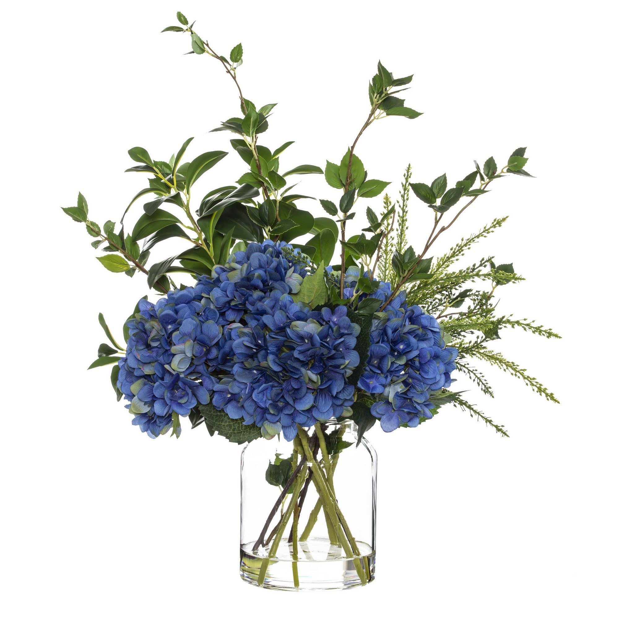 Artificial Hydrangea Mix in Glass Jar, Blue Flower