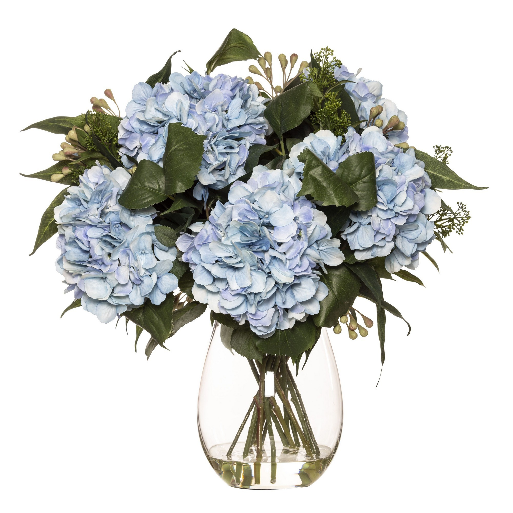 Artificial Hydrangea & Eucalyptus Mix in Claire Vase, Blue Flower, Large