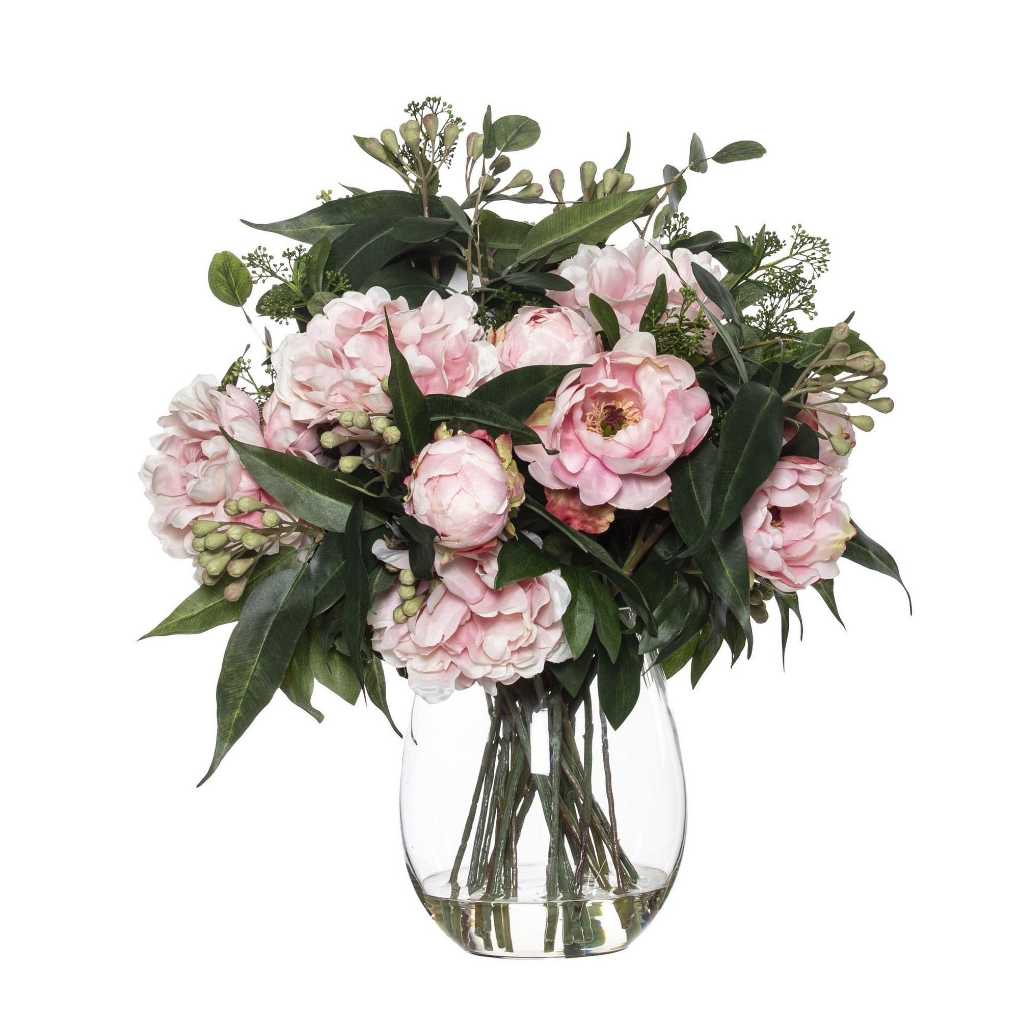 Artificial Peony & Eucalyptus Mix in Claire Vase, Pink Flower, Large