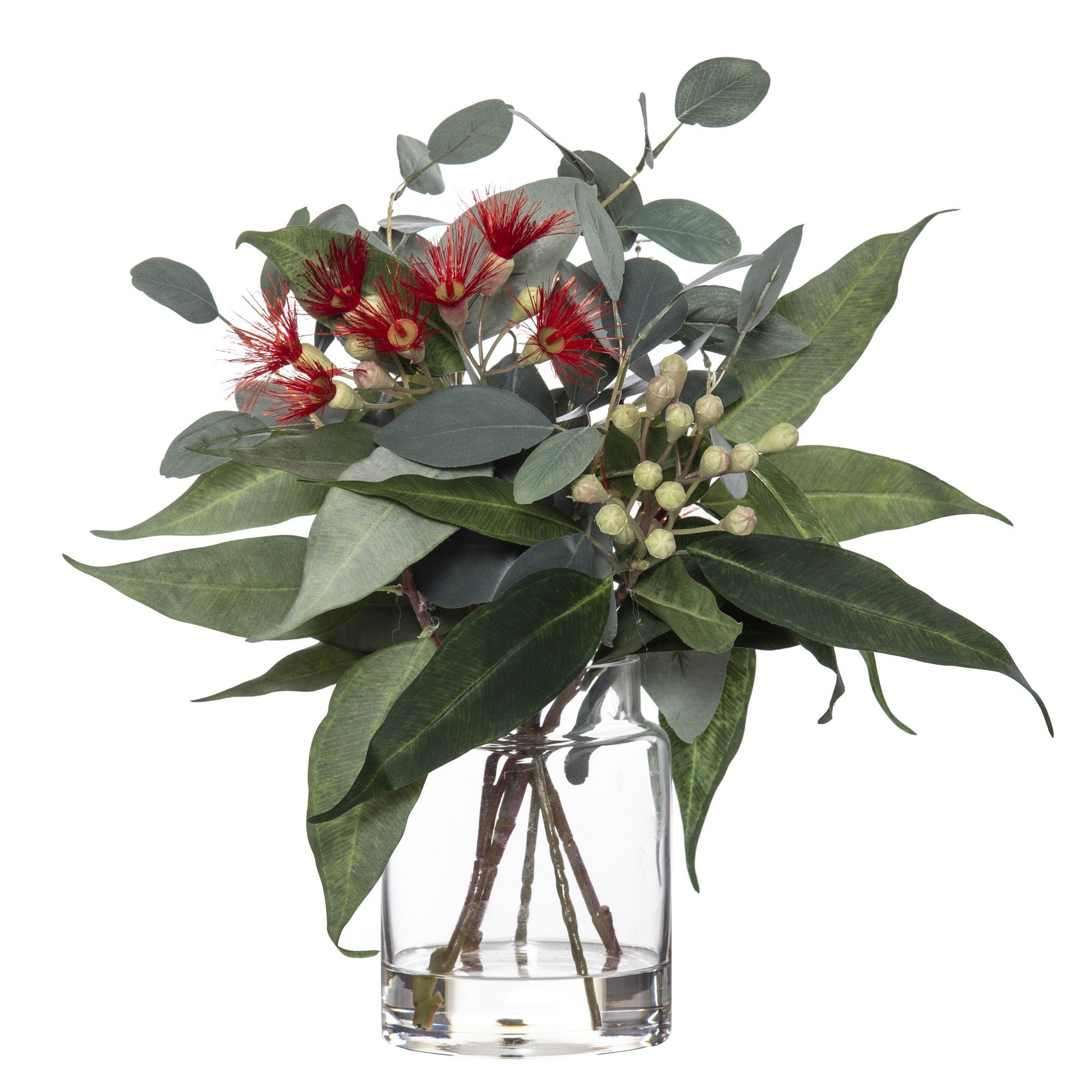 Artificial Flowering Eucalyptus Mix in Pail Vase, Red Flower