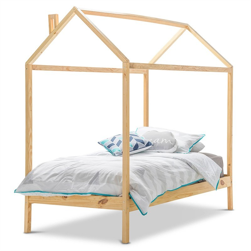 Attic Wooden Bed, Single, Golden Oak
