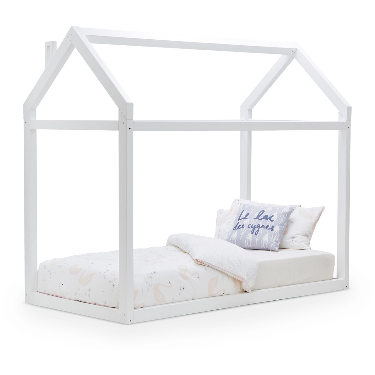 Attic Wooden Low Bed, Single, White