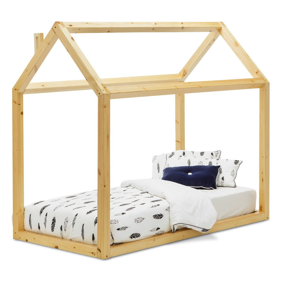 Attic Wooden Low Bed, Single, Golden Oak