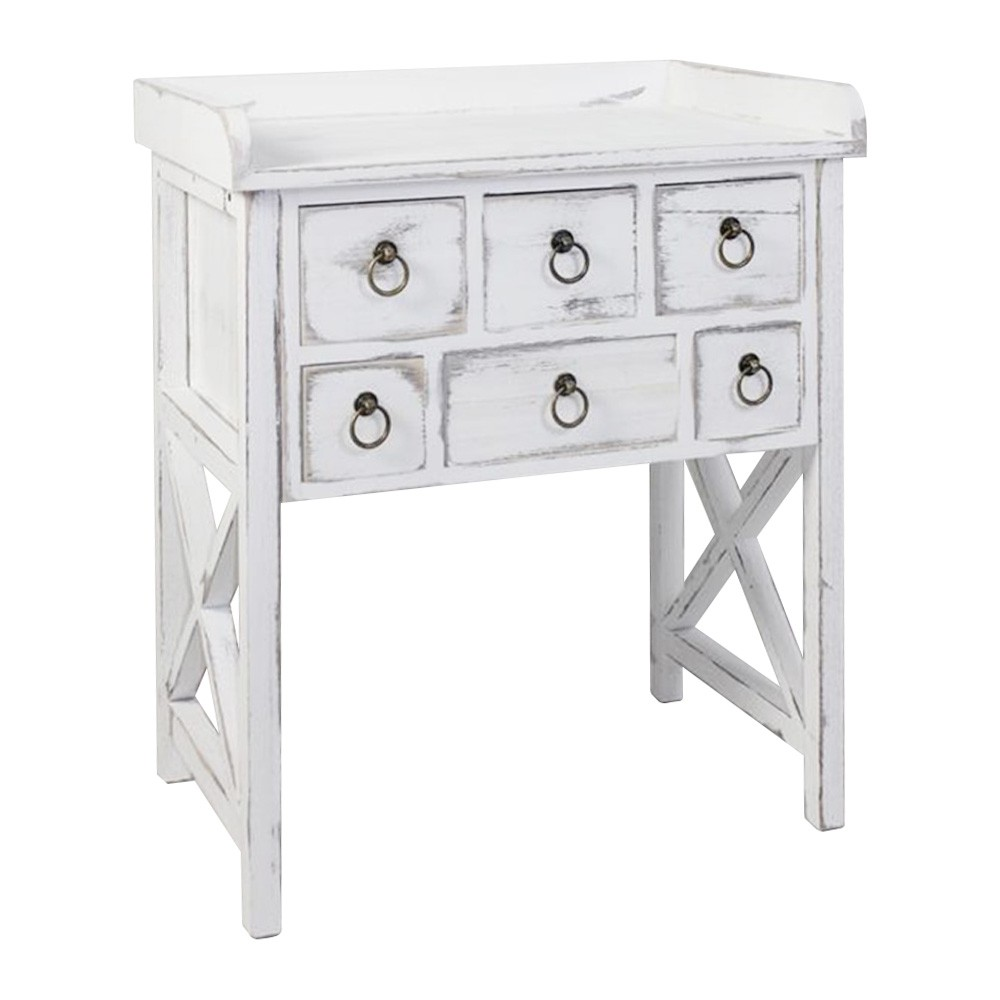 Lorette  Paulownia Timber 6 Drawer Console Table, 66cm, Distressed White