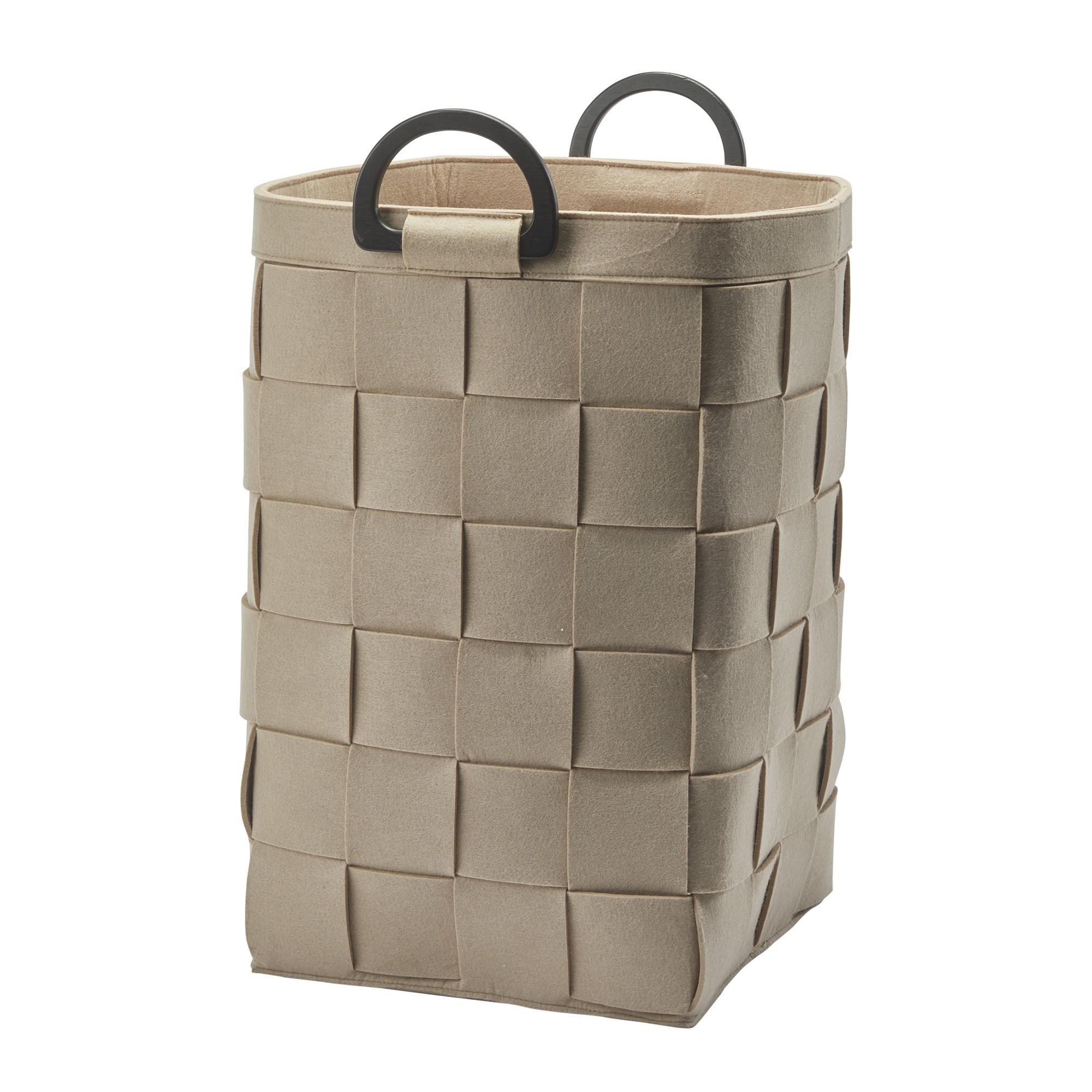 Aquanova Dix Felt Fabric Laundry Basket, 66 Litre, Beige