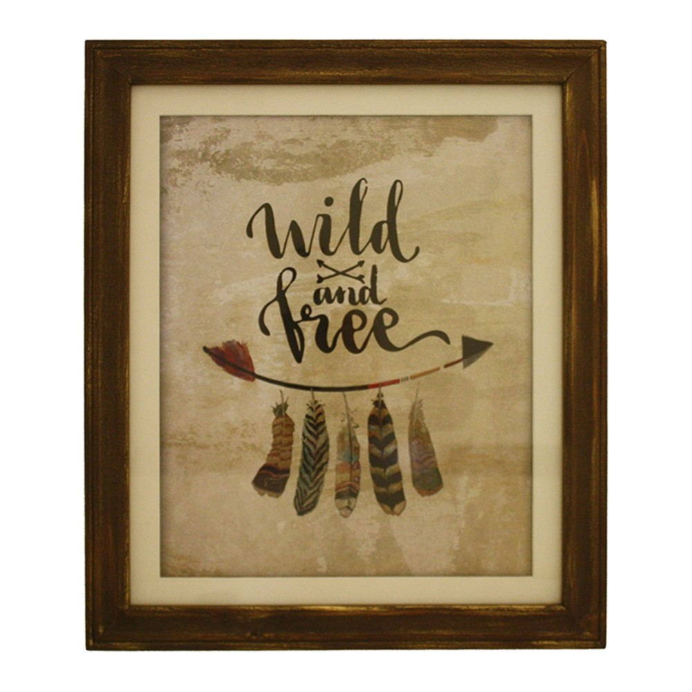Wild & Free Wooden Framed Wall Art, 48cm