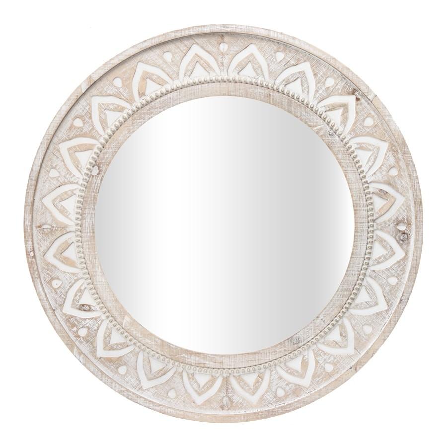 Patna Wooden Frame Round Wall Mirror, 70cm