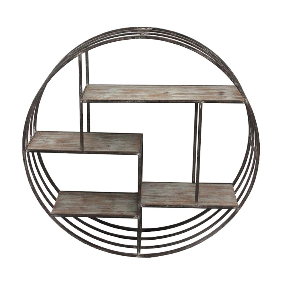 Selous Wood & Metal Round Wall Shelf