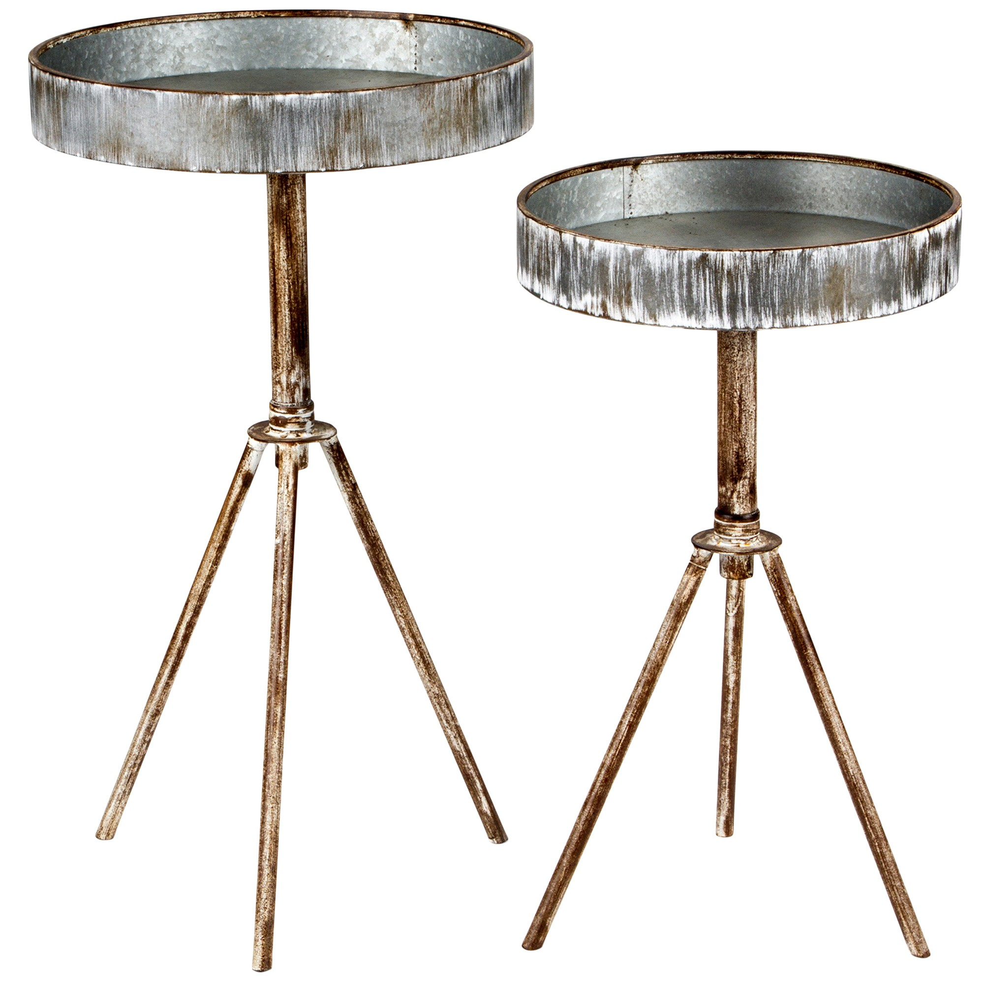 Aterno 2 Piece Metal Tray Top Round Side Table Set