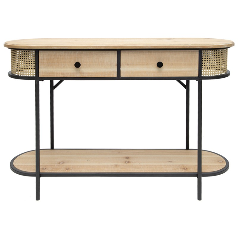 Tropea Wood & Metal Oval Console Table, 120cm