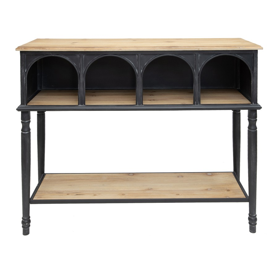 Nero Arc Wood & Metal High Console Table, 120cm