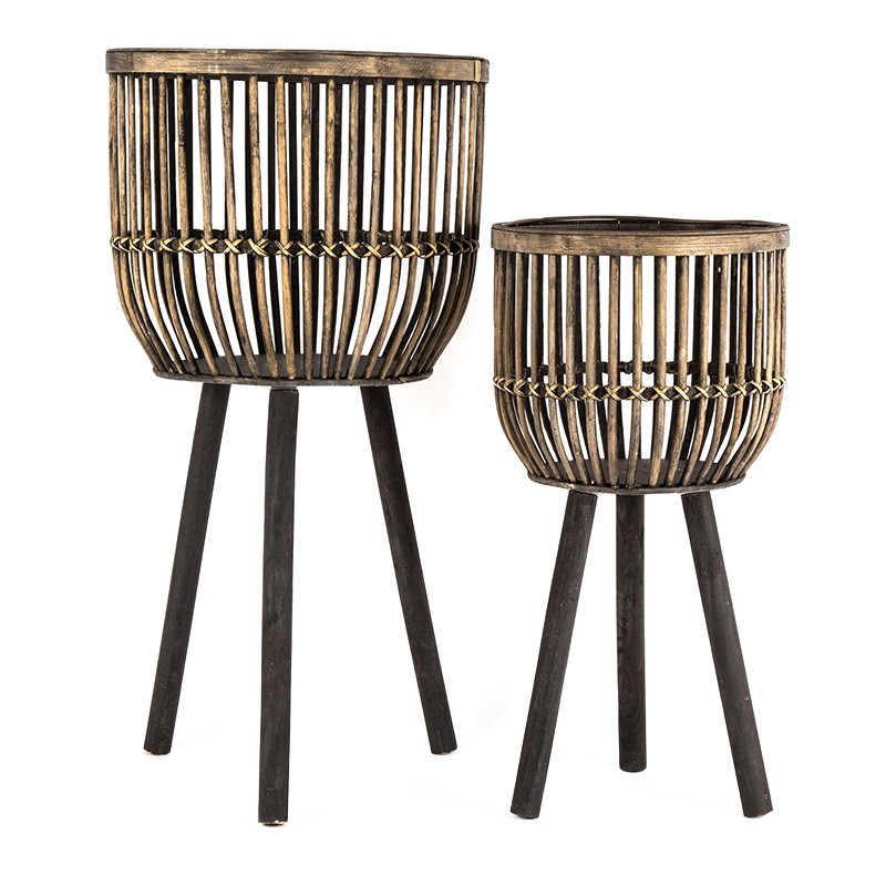 Sims 2 Piece Bamboo Rattan Planter Stand