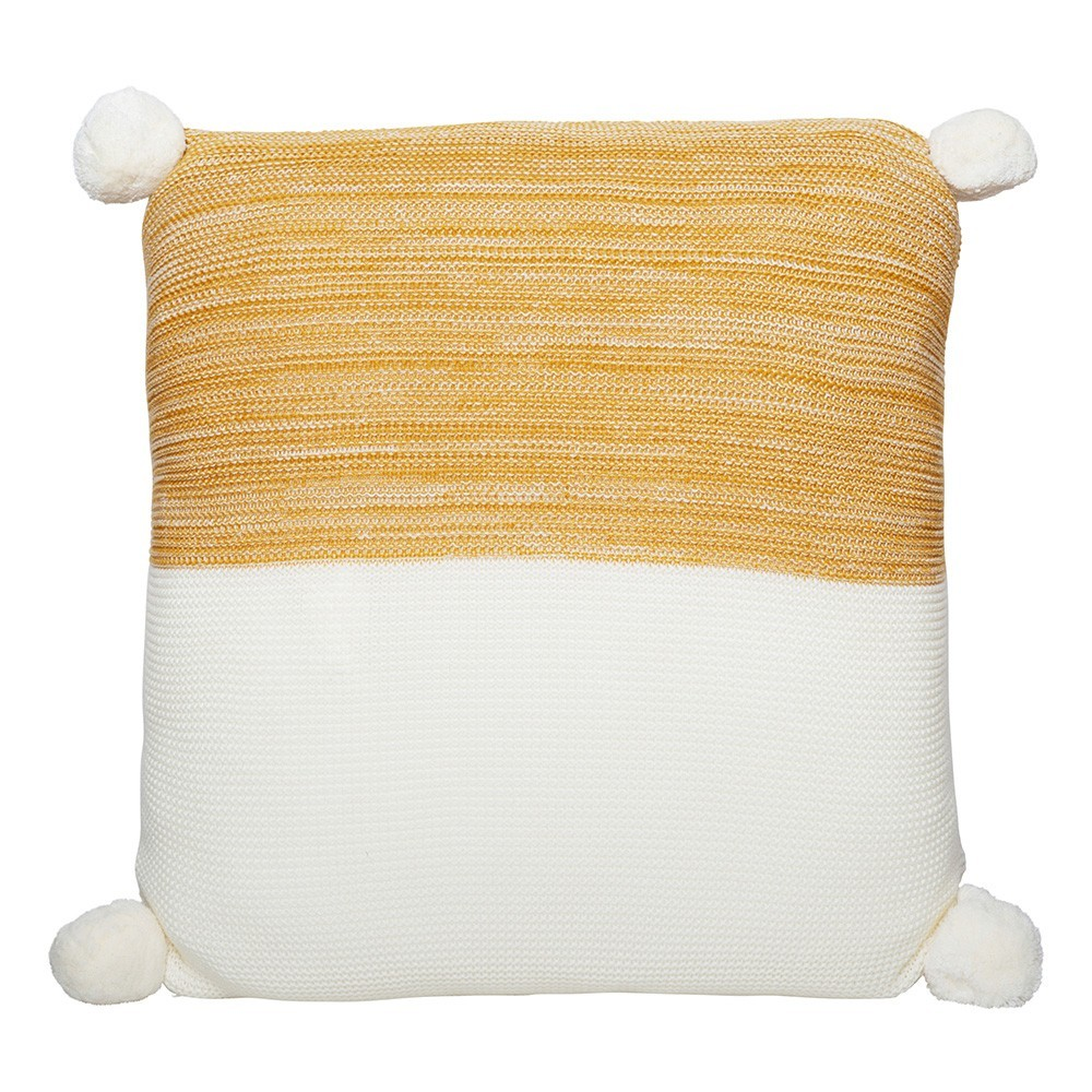 Calgary Pom Pom Knitted Cotton Scatter Cushion, Mustard