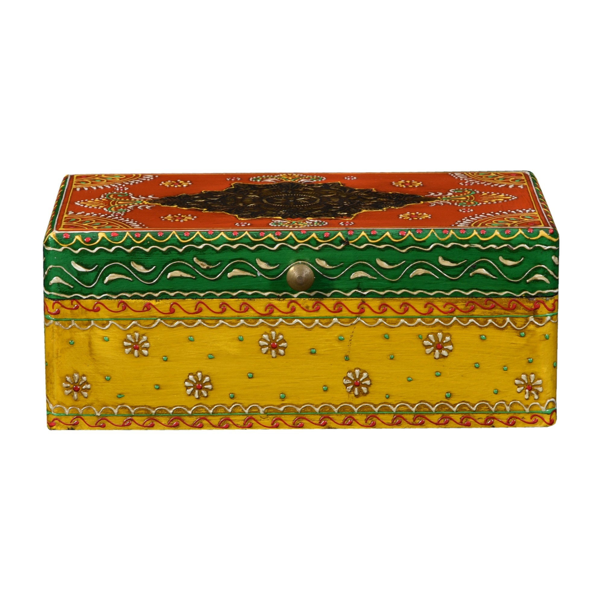 Trady Painted Wooden Storage Box