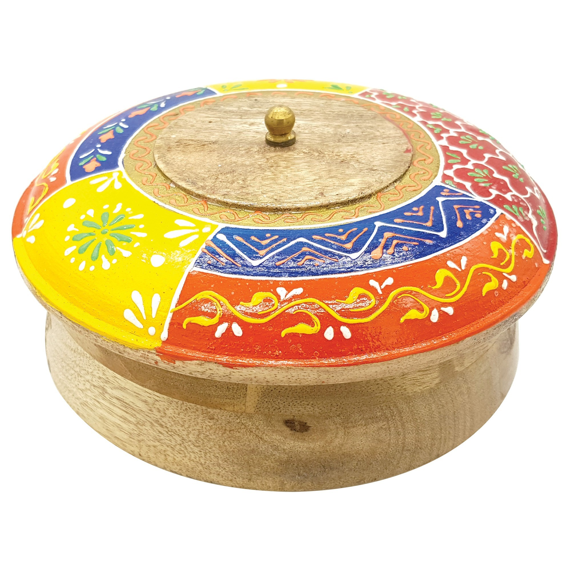 Topsy Painted Wooden Lidded Storage Canister, Large