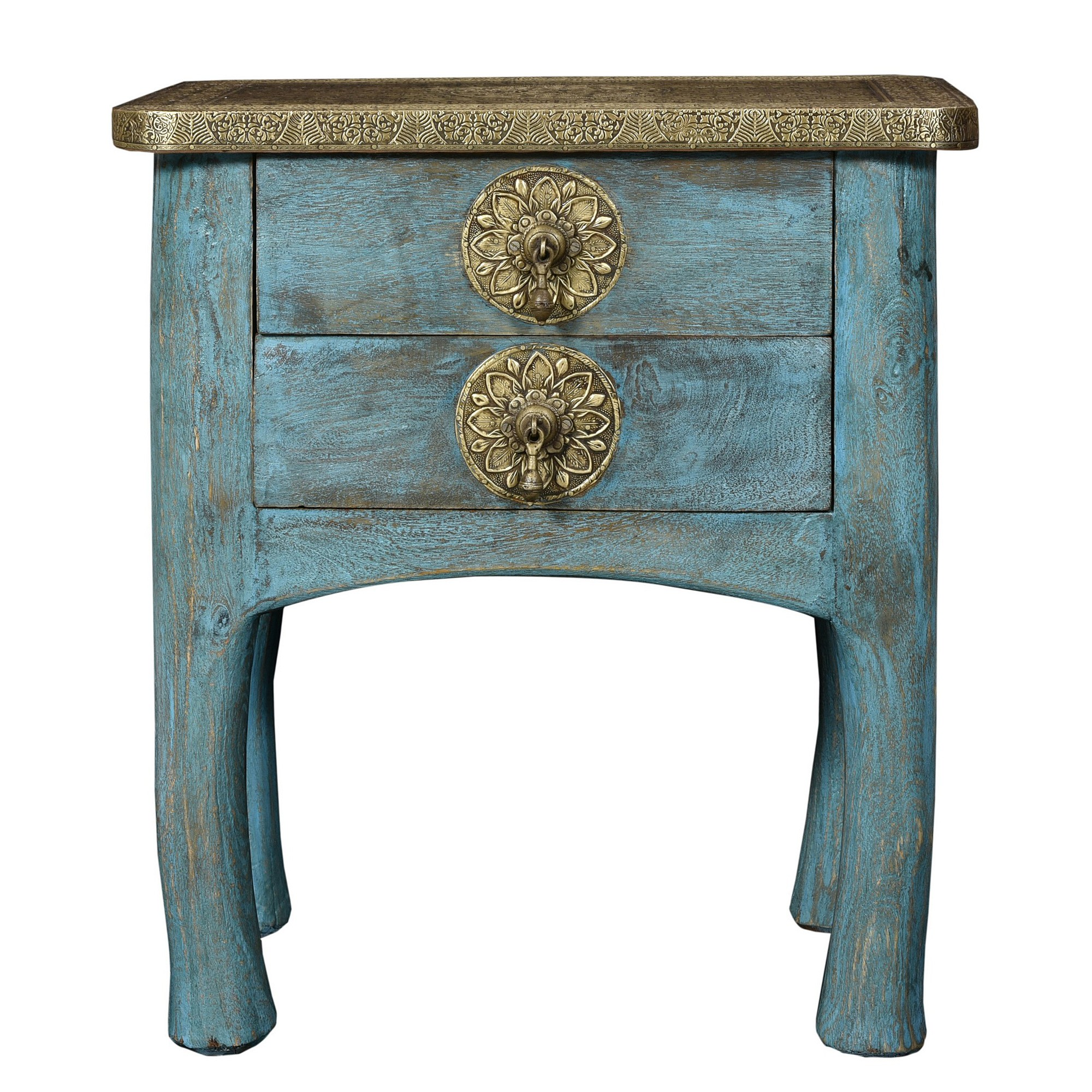 Luca Embossed Metal & Timber 2 Drawer Side Table