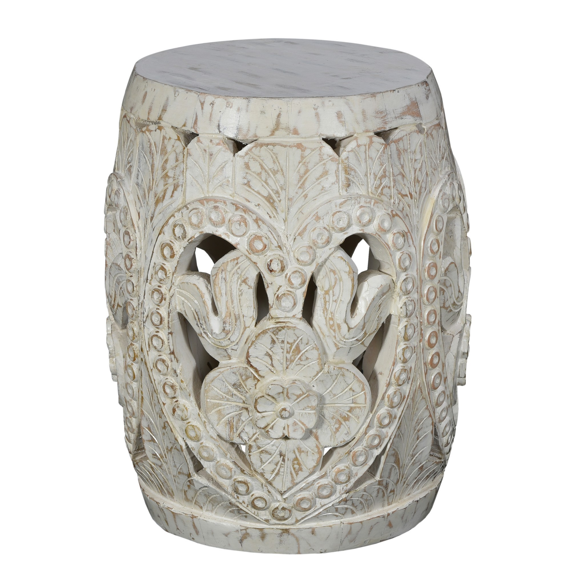 Gapun Hand Carved Timber Drum Stool