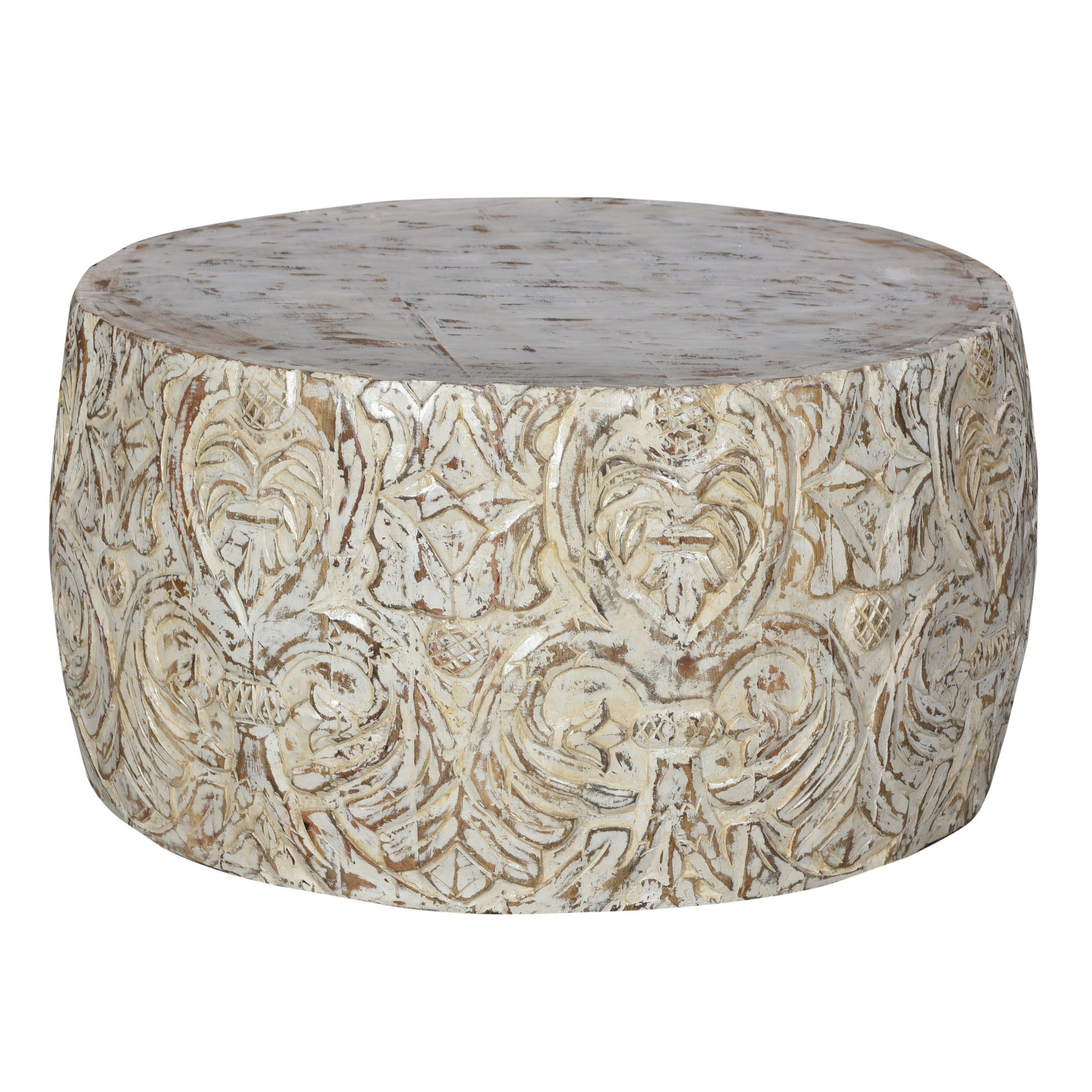 Rooka Hand Carved Timber Round Coffee Table, 80cm