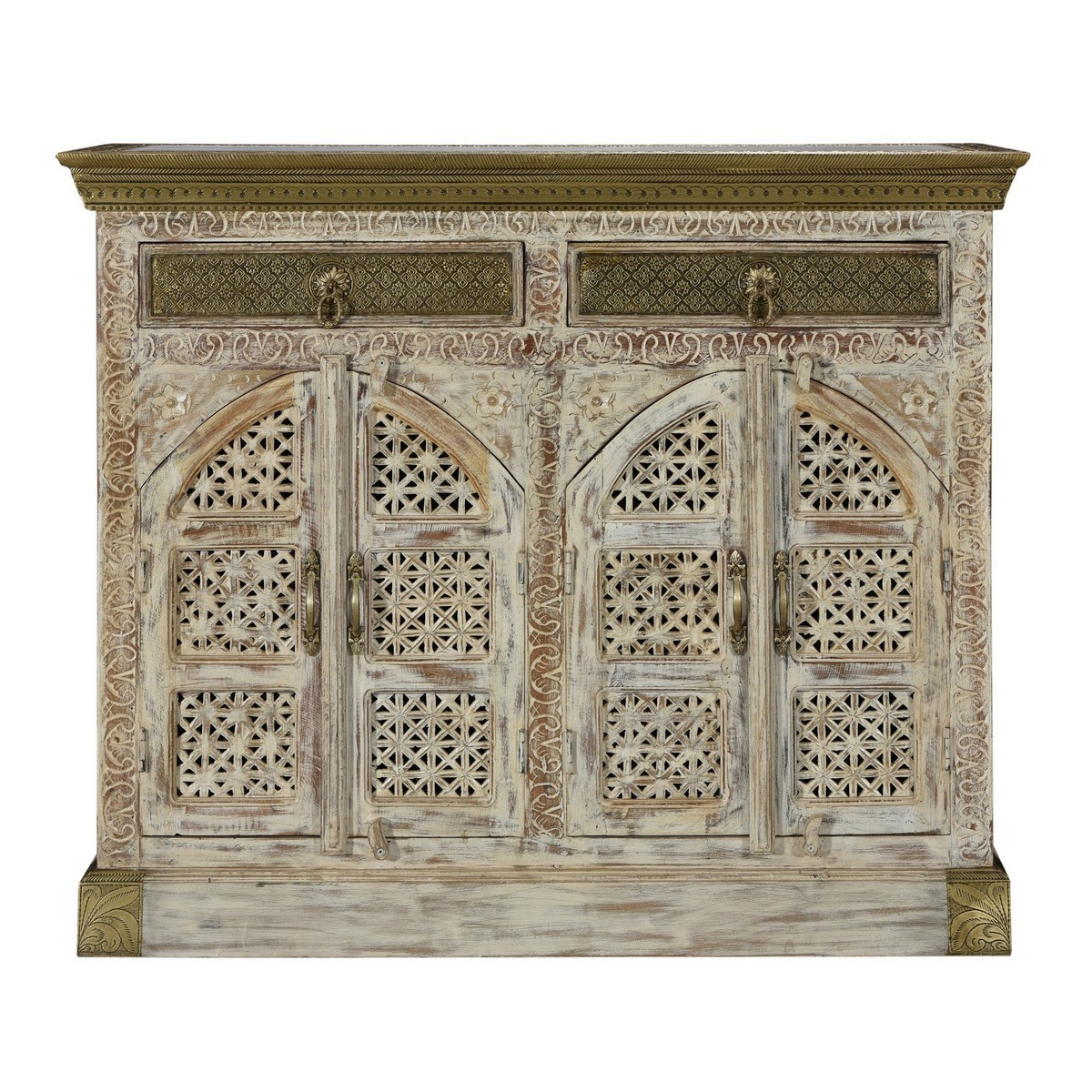 Diengie Embossed Metal & Carved Timber 4 Door 2 Drawer Sideboard, 116cm