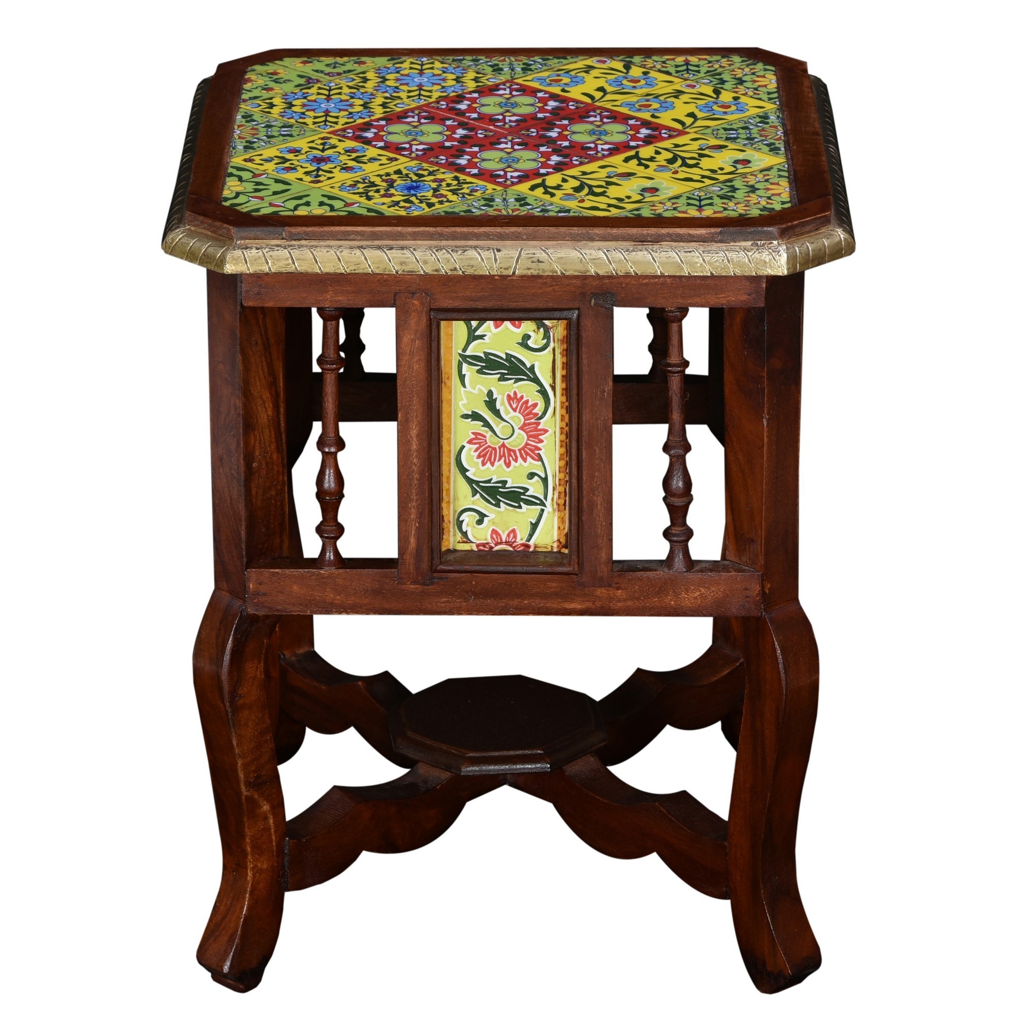 Nicum Moroccan Tile Inlay Timber Side Table