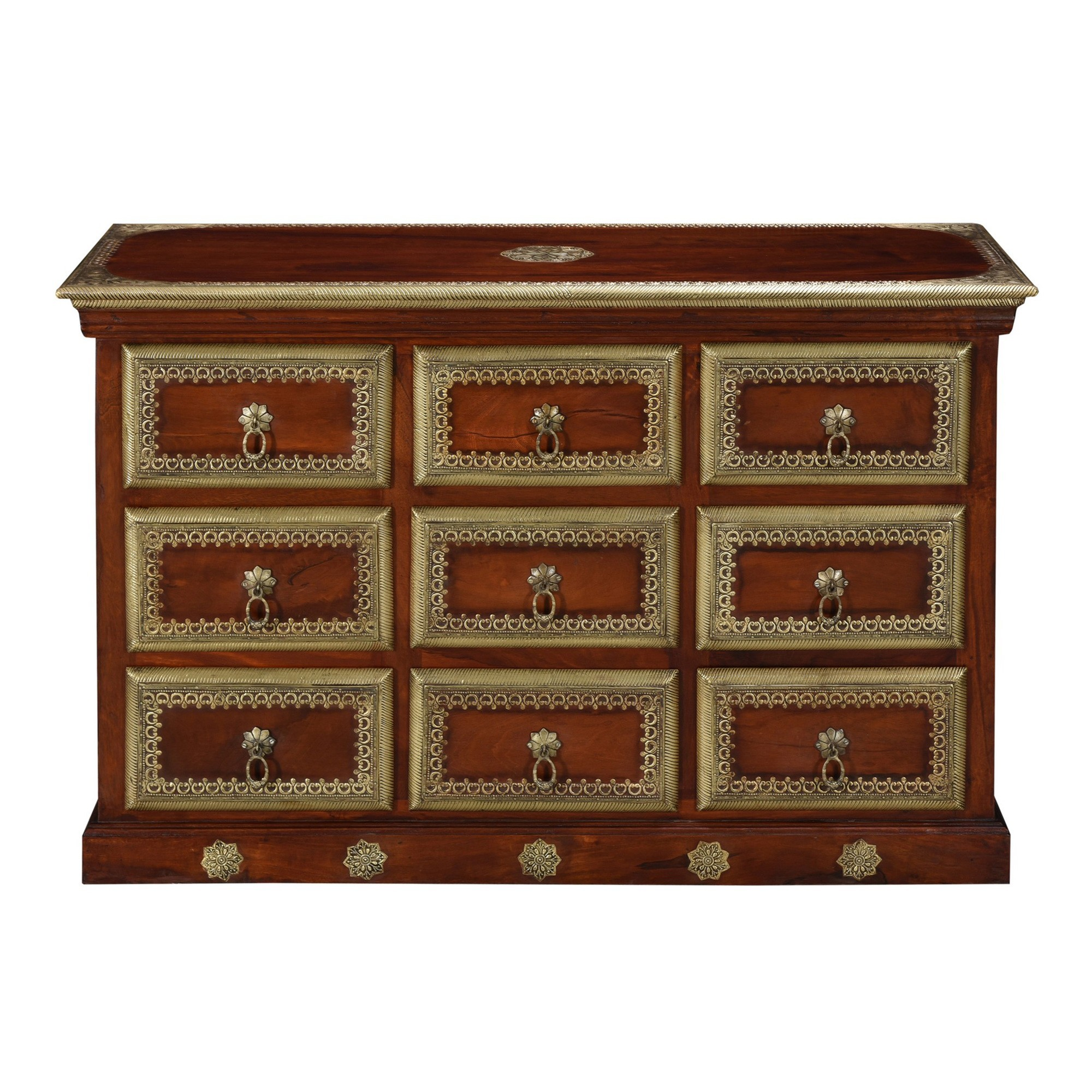 Pelson Metal Inlay Timber Multi Drawer Accent Chest