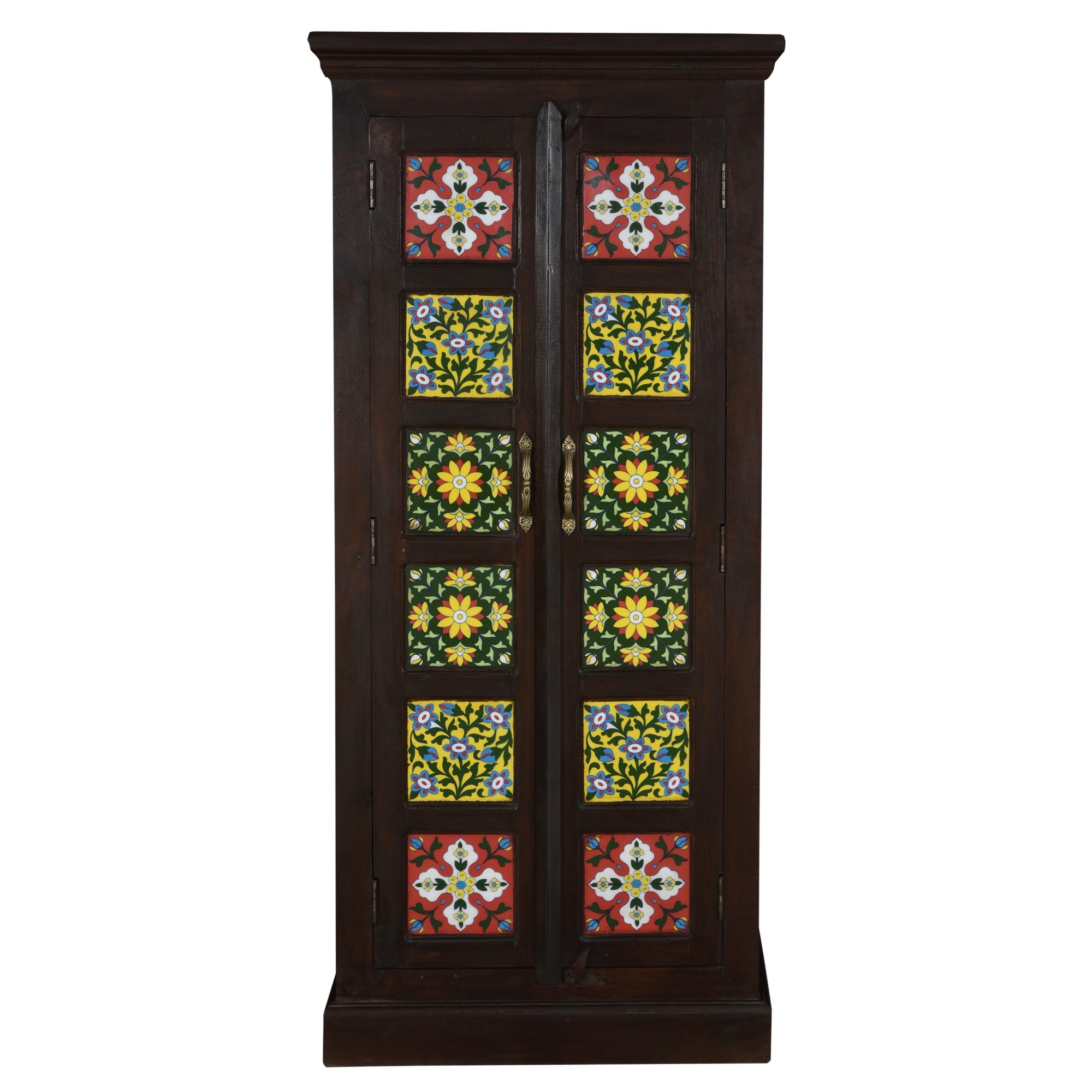 Geru Moroccan Tile Inlay Timber 2 Door Cabinet